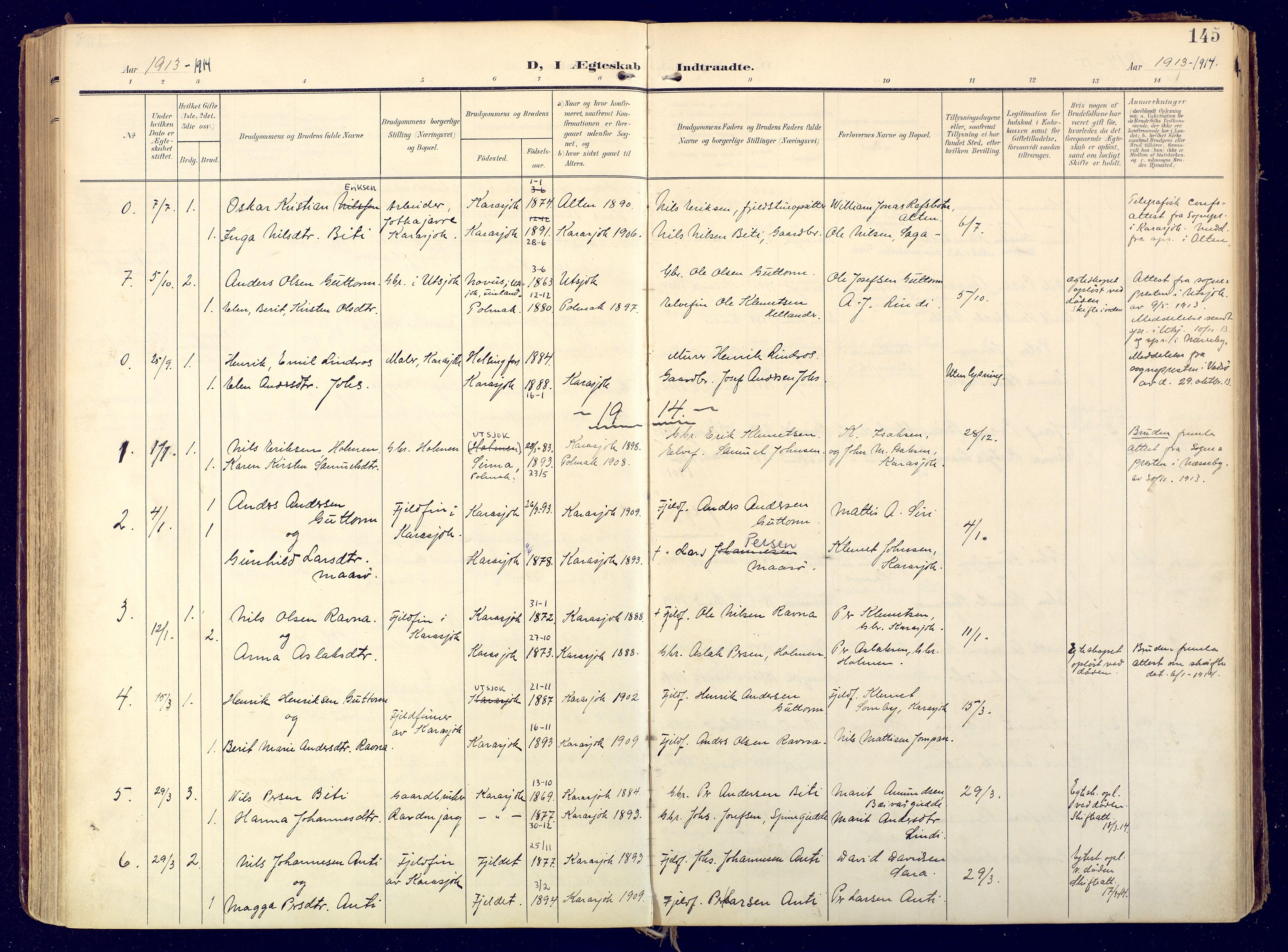 SATØ, Karasjok sokneprestkontor, H/Ha: Ministerialbok nr. 3, 1907-1926, s. 145