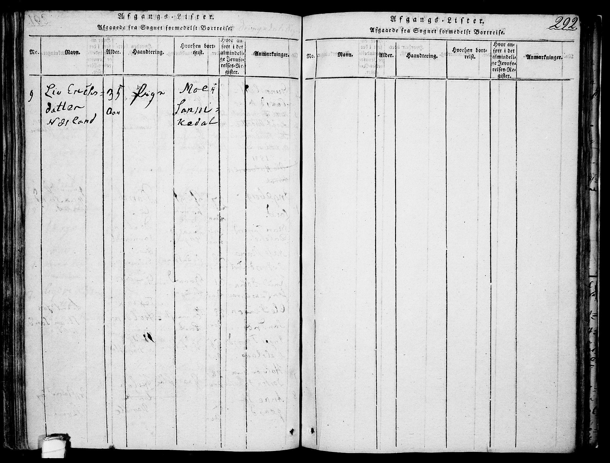 SAKO, Drangedal kirkebøker, F/Fa/L0005: Ministerialbok nr. 5 /1, 1814-1831, s. 292
