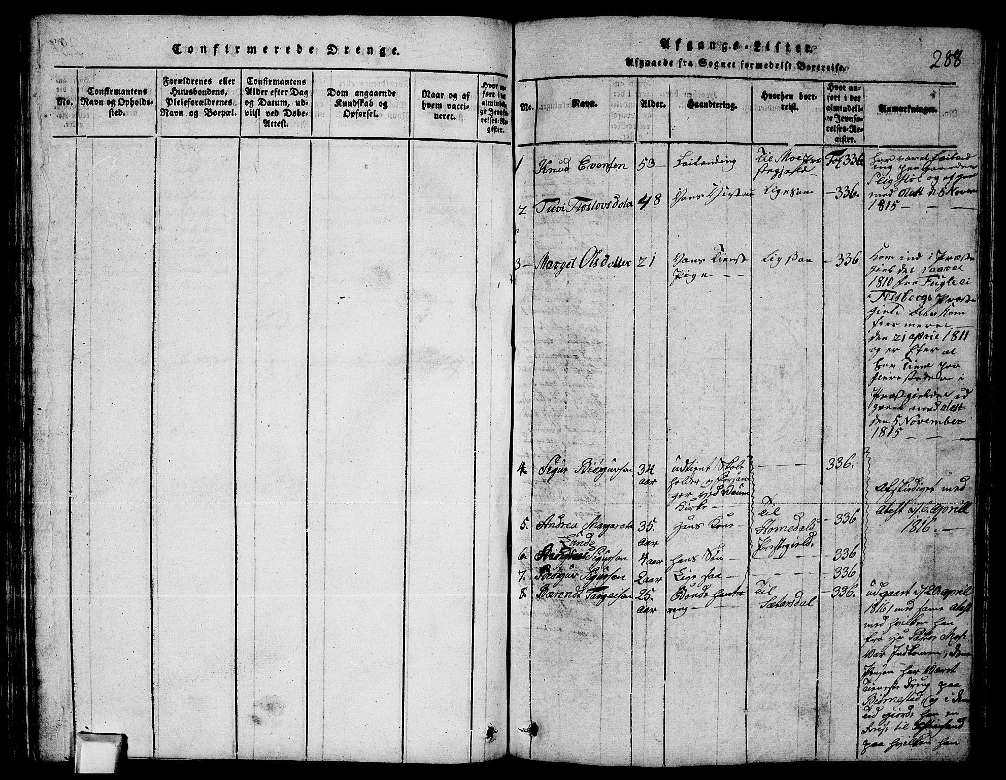 SAKO, Fyresdal kirkebøker, G/Ga/L0003: Klokkerbok nr. I 3, 1815-1863, s. 288