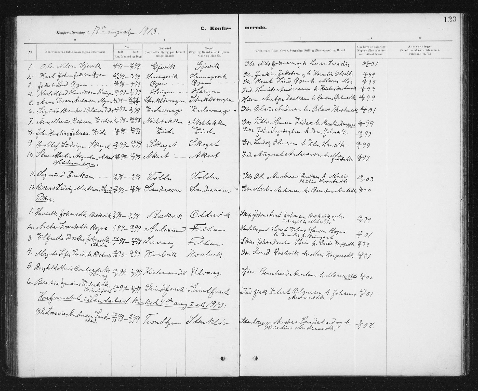SAT, Ministerialprotokoller, klokkerbøker og fødselsregistre - Sør-Trøndelag, 637/L0563: Klokkerbok nr. 637C04, 1899-1940, s. 123