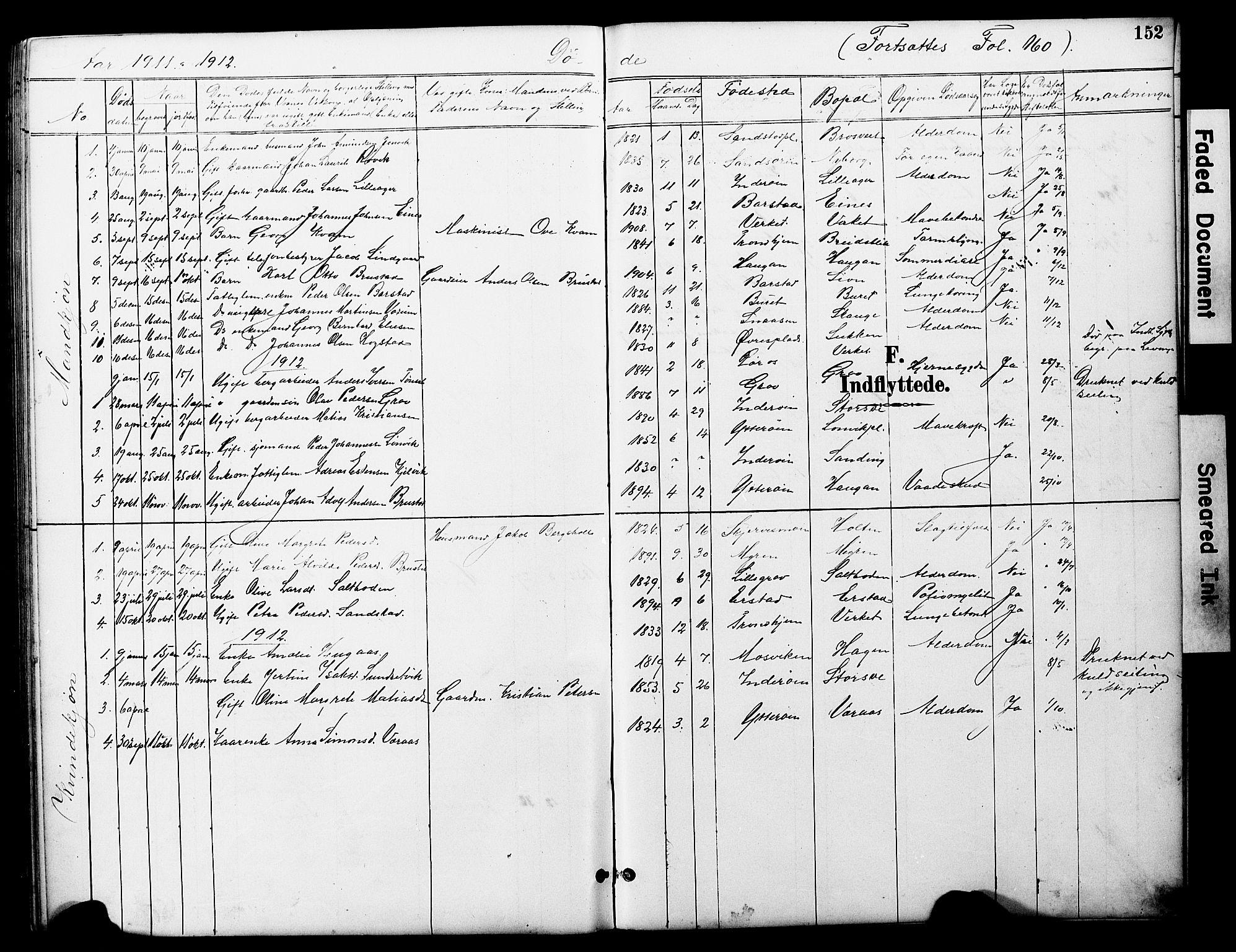 SAT, Ministerialprotokoller, klokkerbøker og fødselsregistre - Nord-Trøndelag, 722/L0226: Klokkerbok nr. 722C02, 1889-1927, s. 152