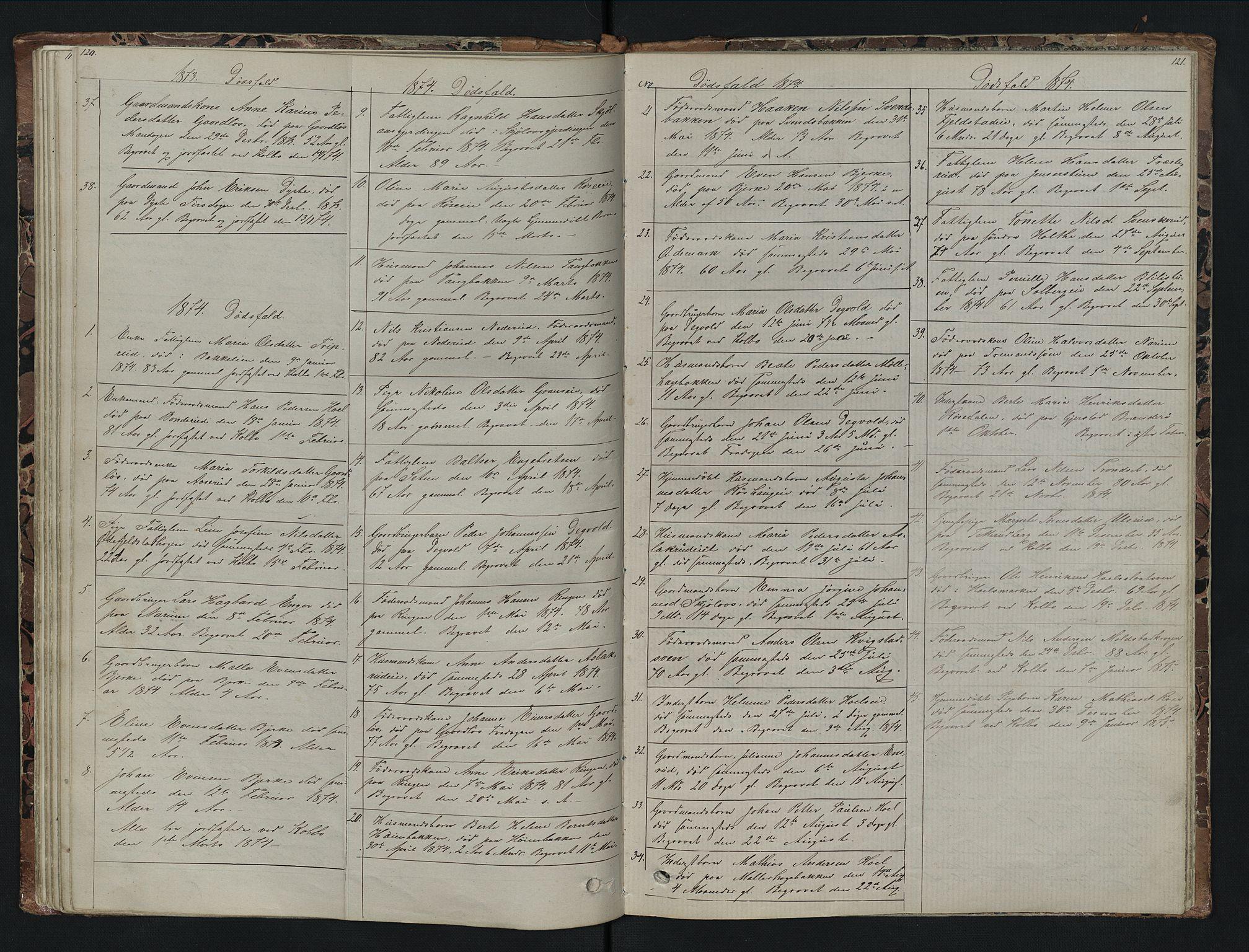 SAH, Vestre Toten prestekontor, Klokkerbok nr. 7, 1872-1900, s. 120-121
