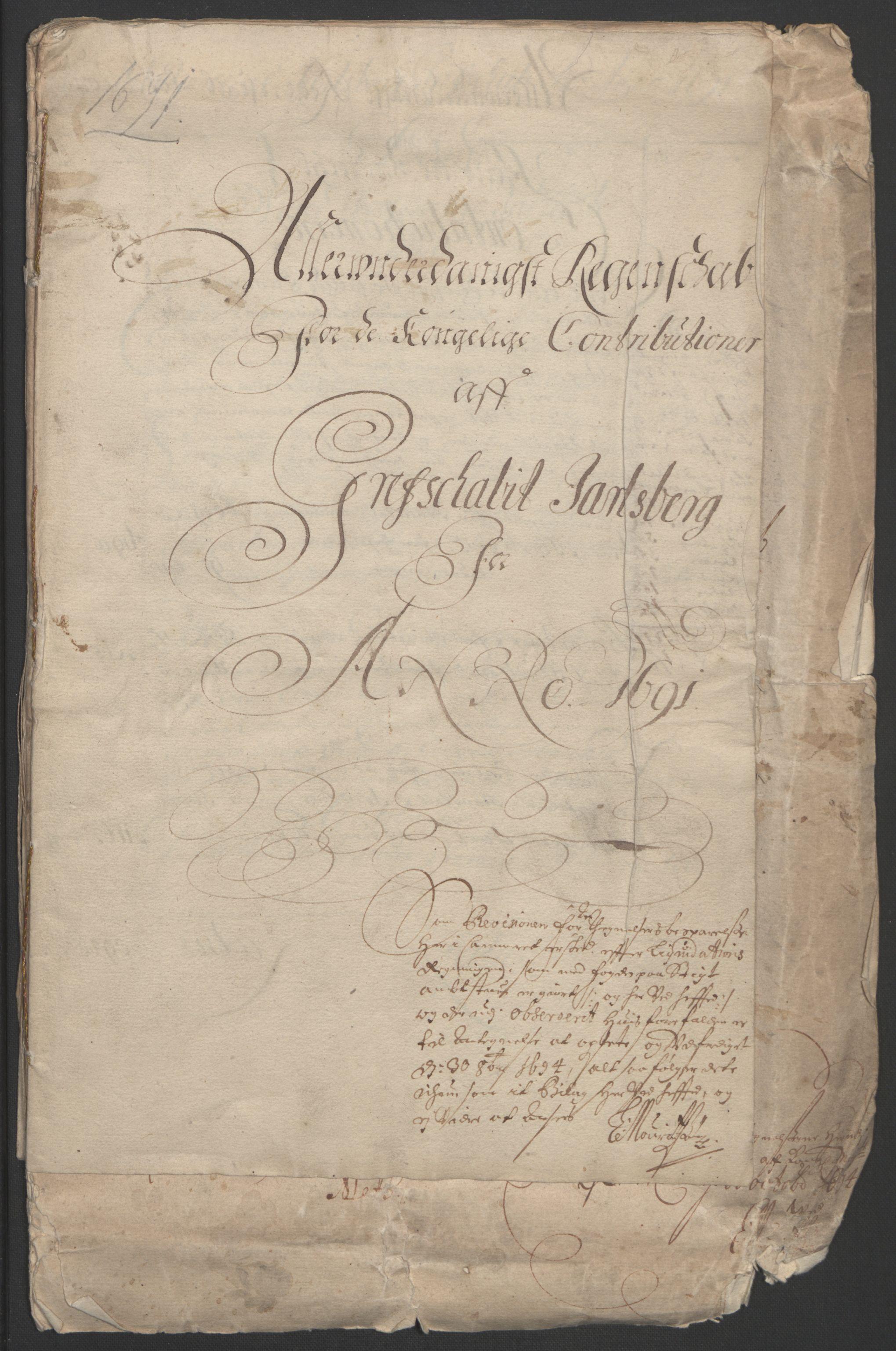RA, Rentekammeret inntil 1814, Reviderte regnskaper, Fogderegnskap, R32/L1864: Fogderegnskap Jarlsberg grevskap, 1691, s. 3