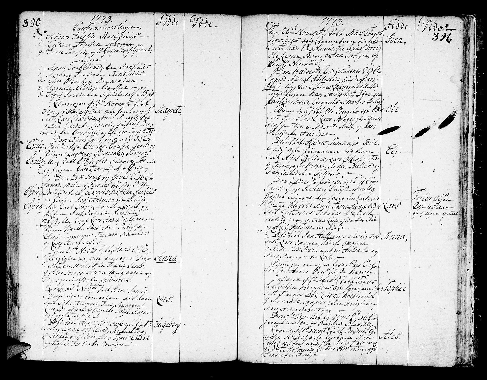 SAB, Kvinnherad Sokneprestembete, H/Haa: Ministerialbok nr. A 3, 1754-1777, s. 390-391