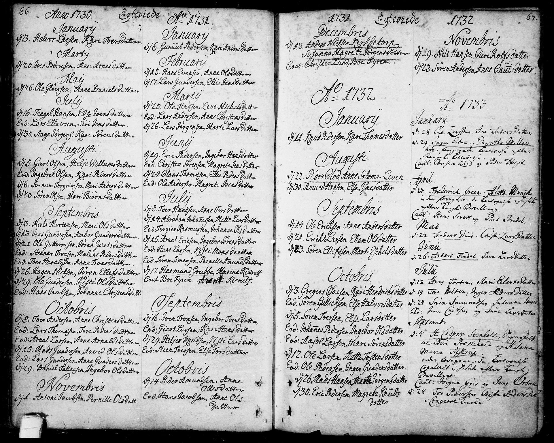 SAKO, Bamble kirkebøker, F/Fa/L0001: Ministerialbok nr. I 1, 1702-1774, s. 66-67