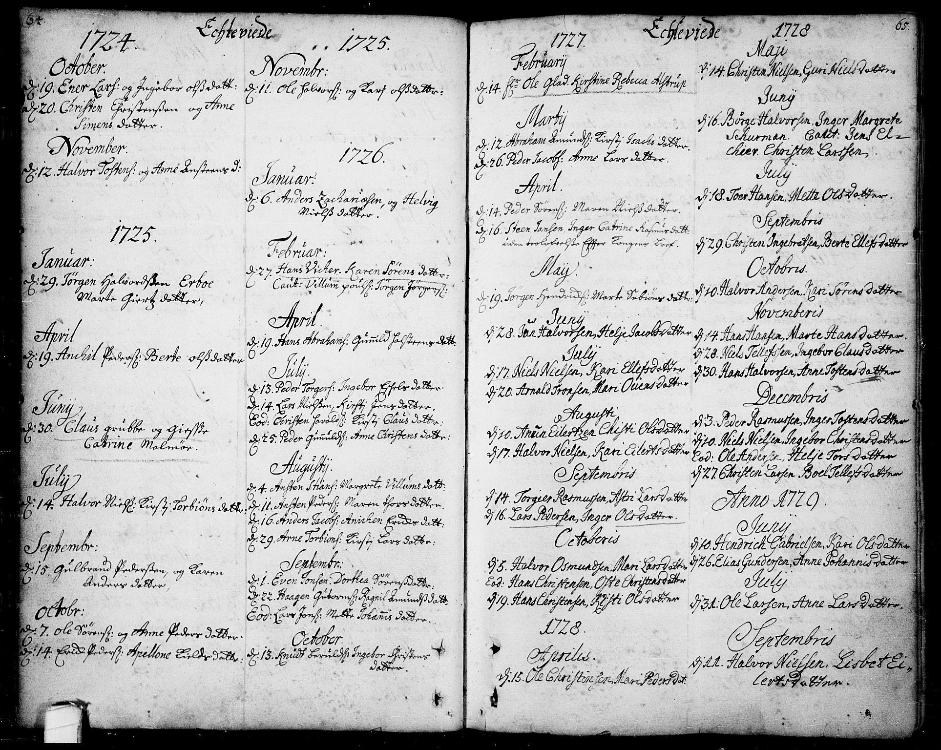 SAKO, Bamble kirkebøker, F/Fa/L0001: Ministerialbok nr. I 1, 1702-1774, s. 64-65
