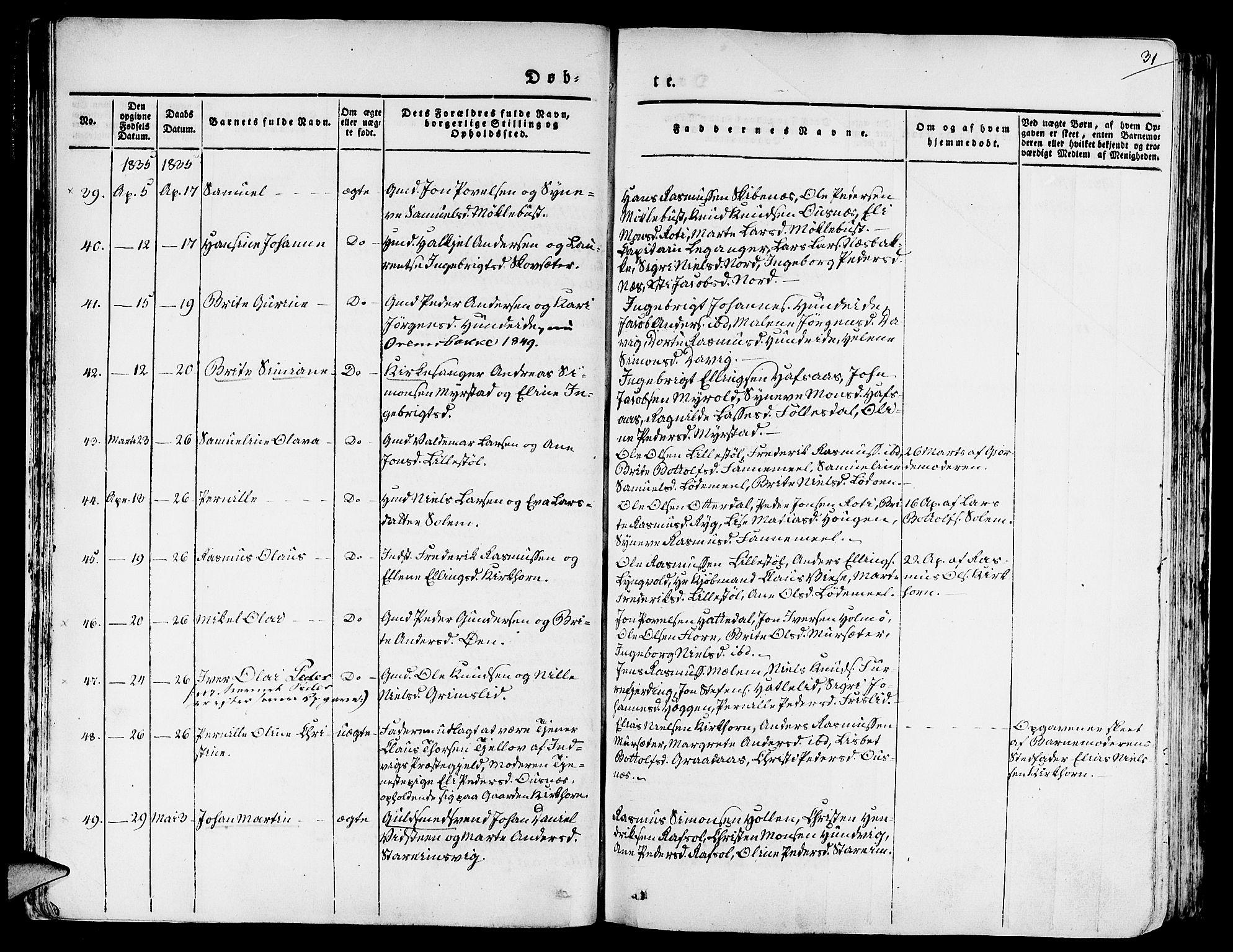 SAB, Eid Sokneprestembete, H/Haa: Ministerialbok nr. A 6, 1831-1843, s. 31
