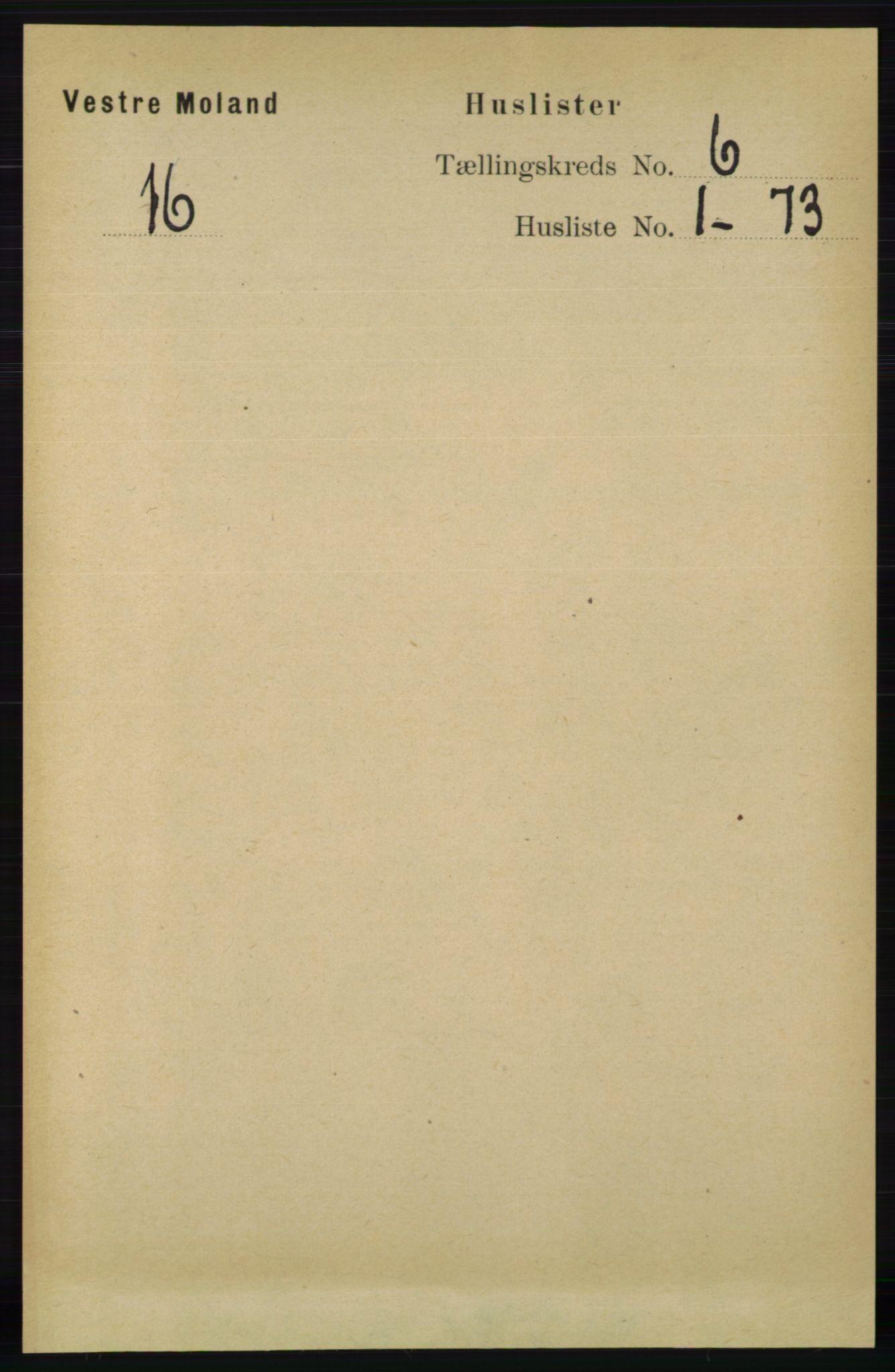 RA, Folketelling 1891 for 0926 Vestre Moland herred, 1891, s. 2269