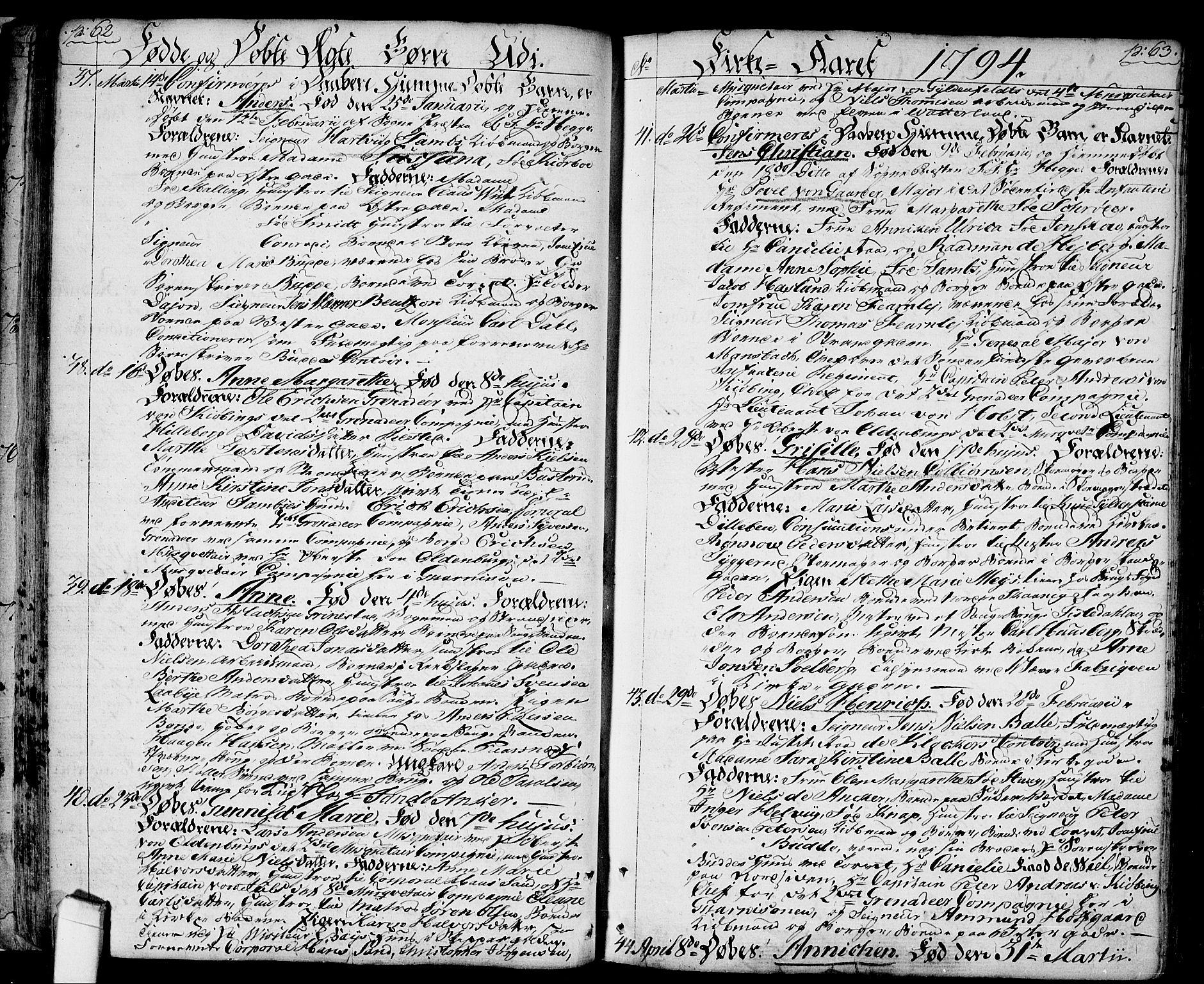 SAO, Halden prestekontor Kirkebøker, F/Fa/L0002: Ministerialbok nr. I 2, 1792-1812, s. 62-63