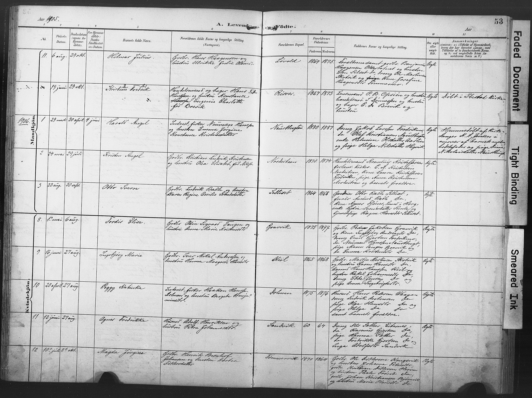 SAT, Ministerialprotokoller, klokkerbøker og fødselsregistre - Nord-Trøndelag, 789/L0706: Klokkerbok nr. 789C01, 1888-1931, s. 53