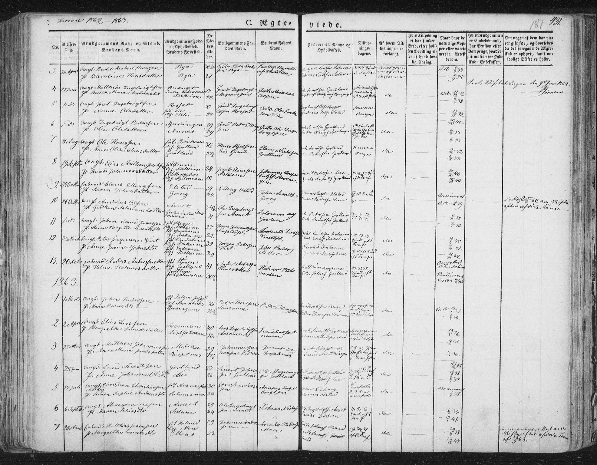 SAT, Ministerialprotokoller, klokkerbøker og fødselsregistre - Nord-Trøndelag, 758/L0513: Ministerialbok nr. 758A02 /3, 1839-1868, s. 181