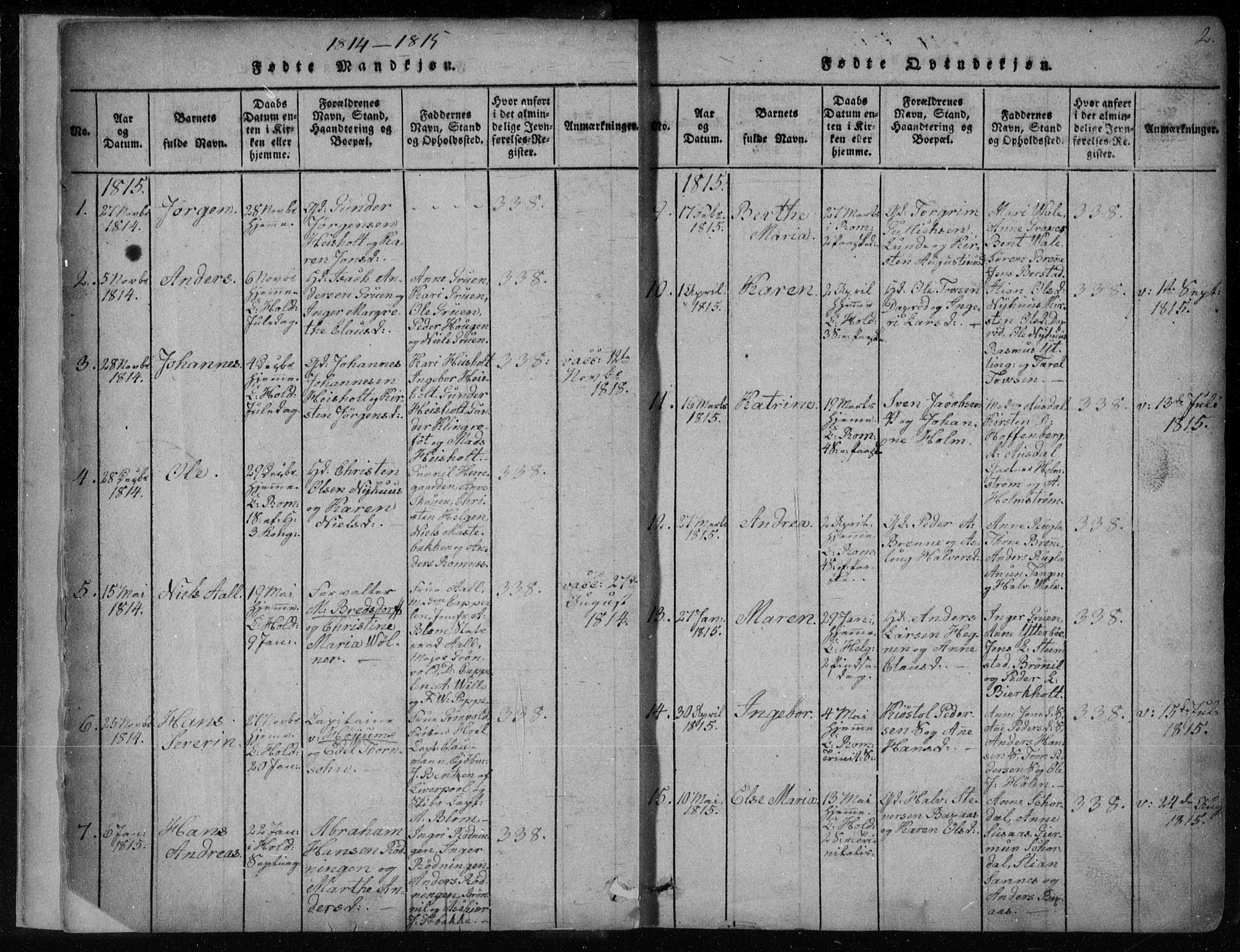 SAKO, Holla kirkebøker, F/Fa/L0003: Ministerialbok nr. 3, 1815-1830, s. 2