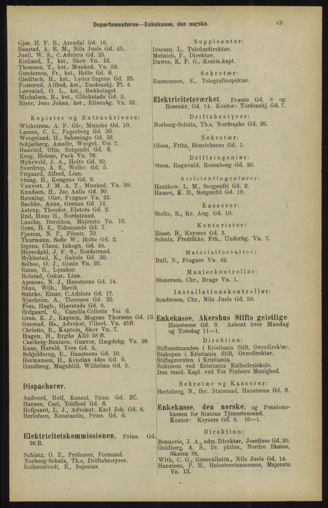 RA, Kristiania adressebok (publikasjon)*, 1904, s. 43