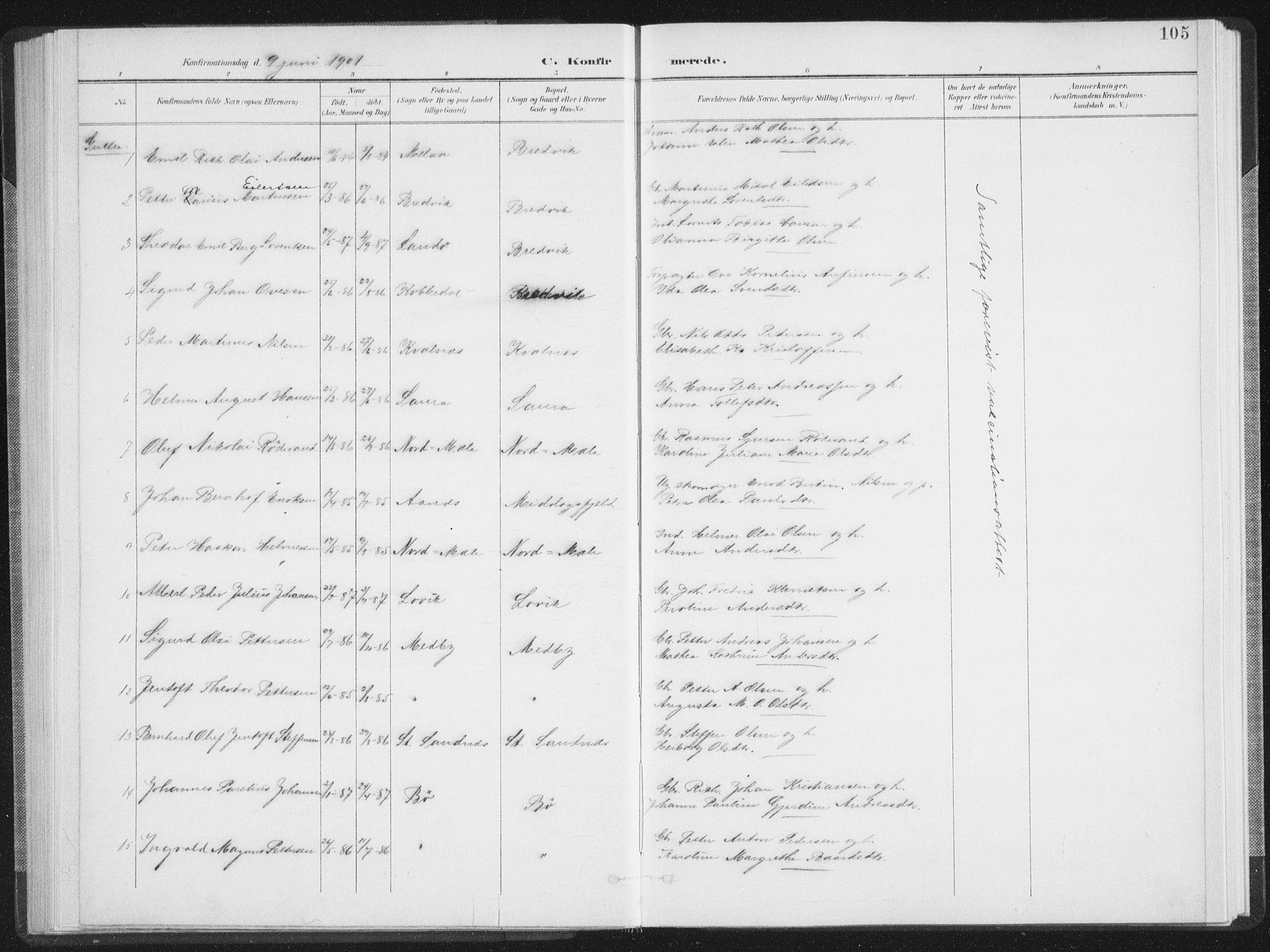 SAT, Ministerialprotokoller, klokkerbøker og fødselsregistre - Nordland, 897/L1400: Ministerialbok nr. 897A07, 1897-1908, s. 105