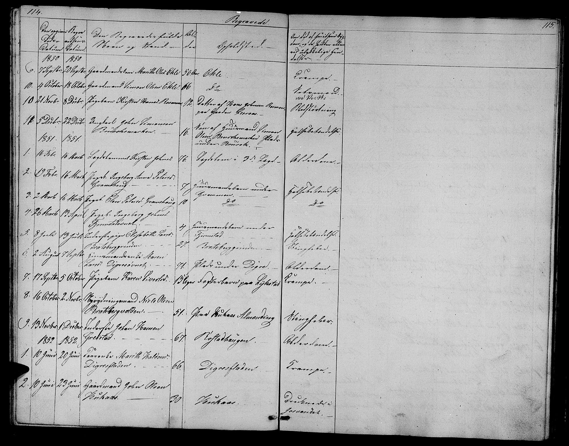 SAT, Ministerialprotokoller, klokkerbøker og fødselsregistre - Sør-Trøndelag, 608/L0339: Klokkerbok nr. 608C05, 1844-1863, s. 114-115