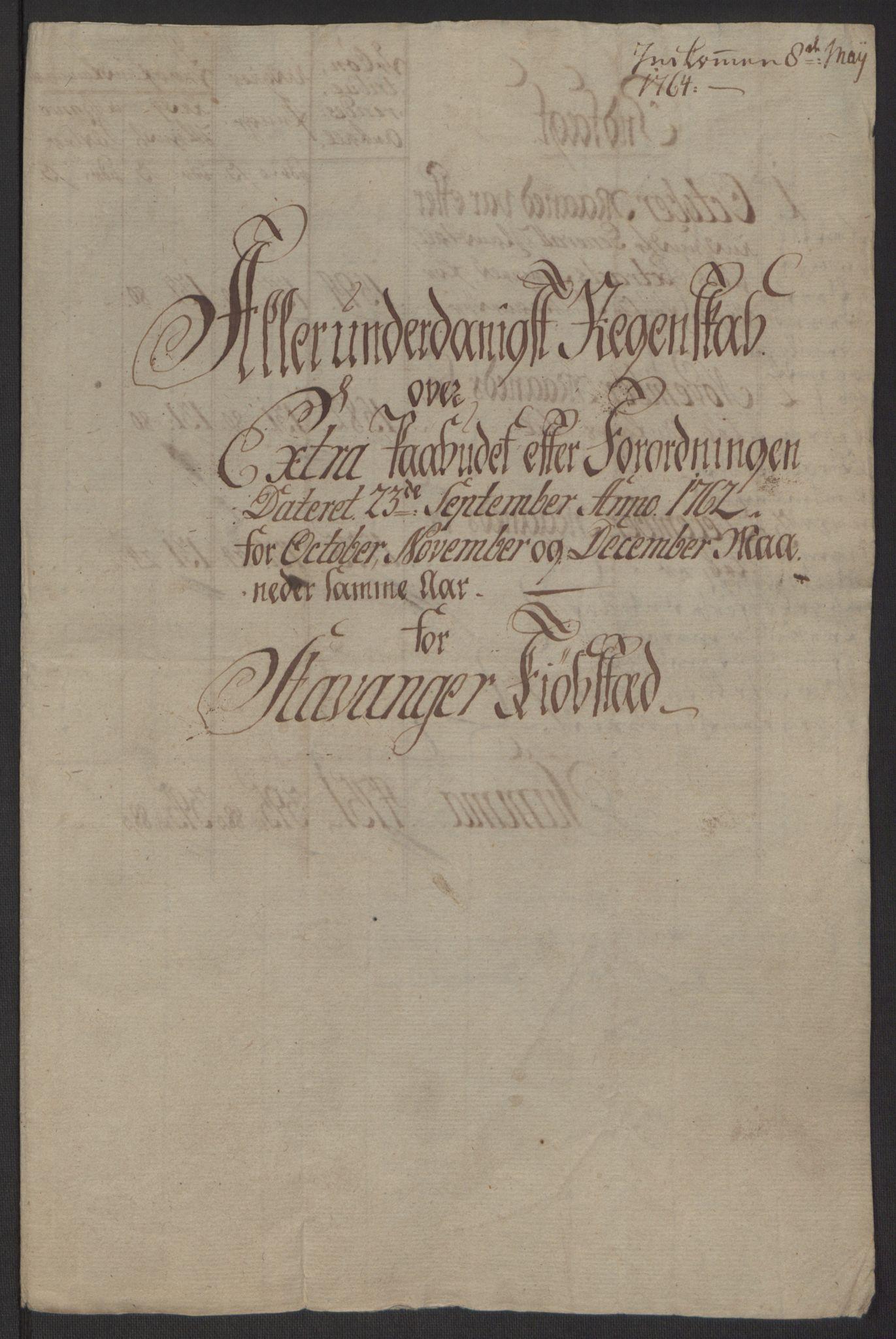 RA, Rentekammeret inntil 1814, Reviderte regnskaper, Byregnskaper, R/Ro/L0305: [O6] Kontribusjonsregnskap, 1762-1768, s. 6