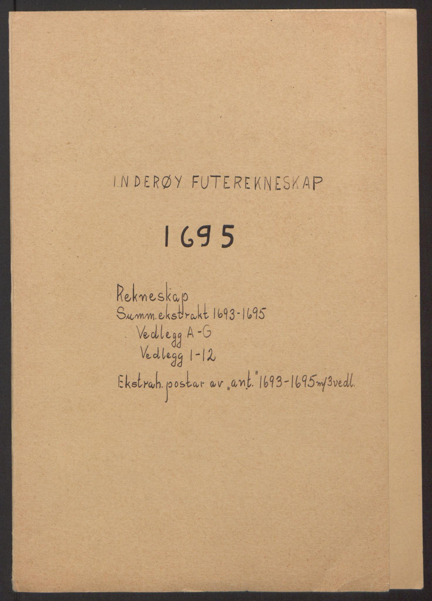 RA, Rentekammeret inntil 1814, Reviderte regnskaper, Fogderegnskap, R63/L4309: Fogderegnskap Inderøy, 1695-1697, s. 2