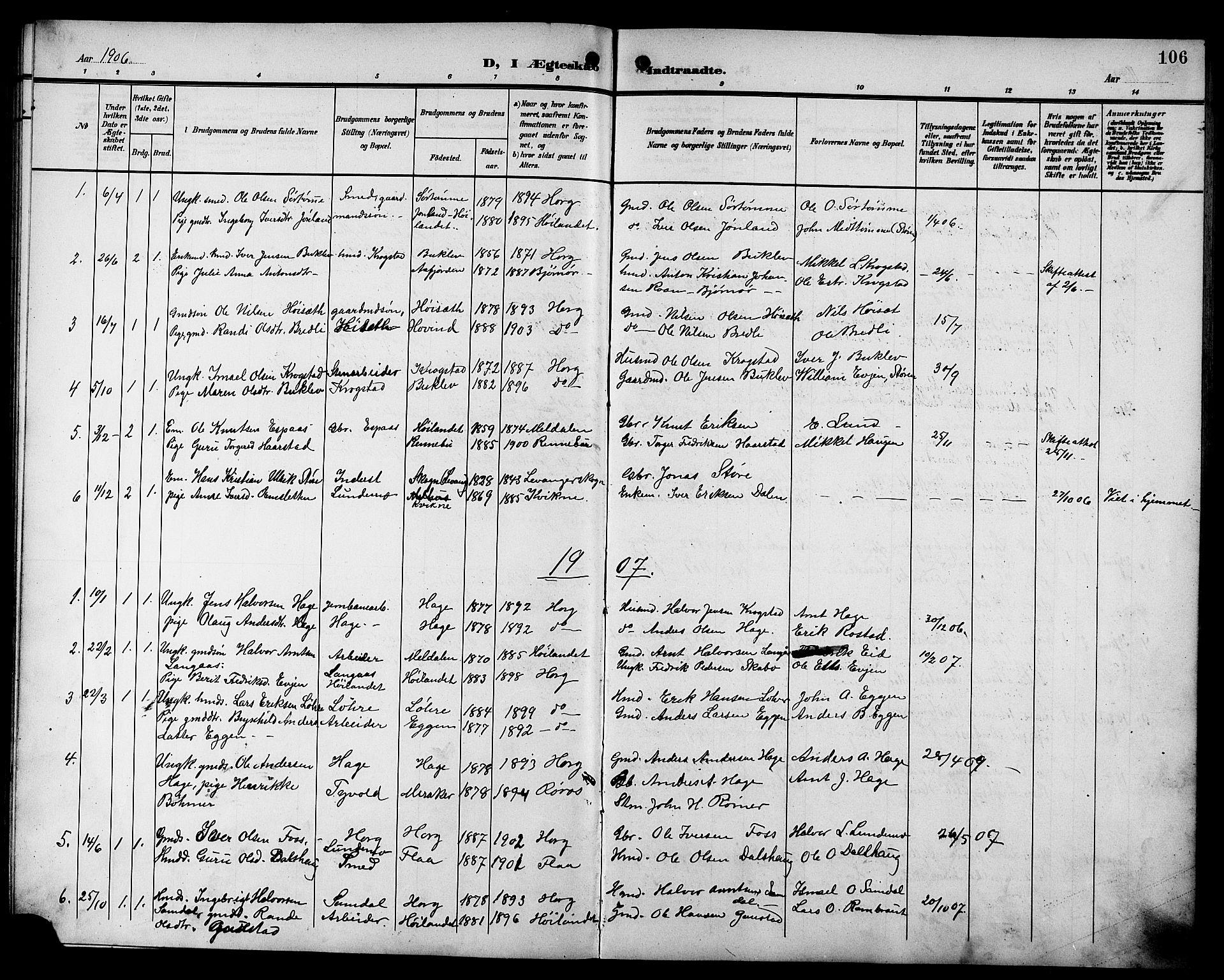 SAT, Ministerialprotokoller, klokkerbøker og fødselsregistre - Sør-Trøndelag, 692/L1112: Klokkerbok nr. 692C07, 1904-1918, s. 106