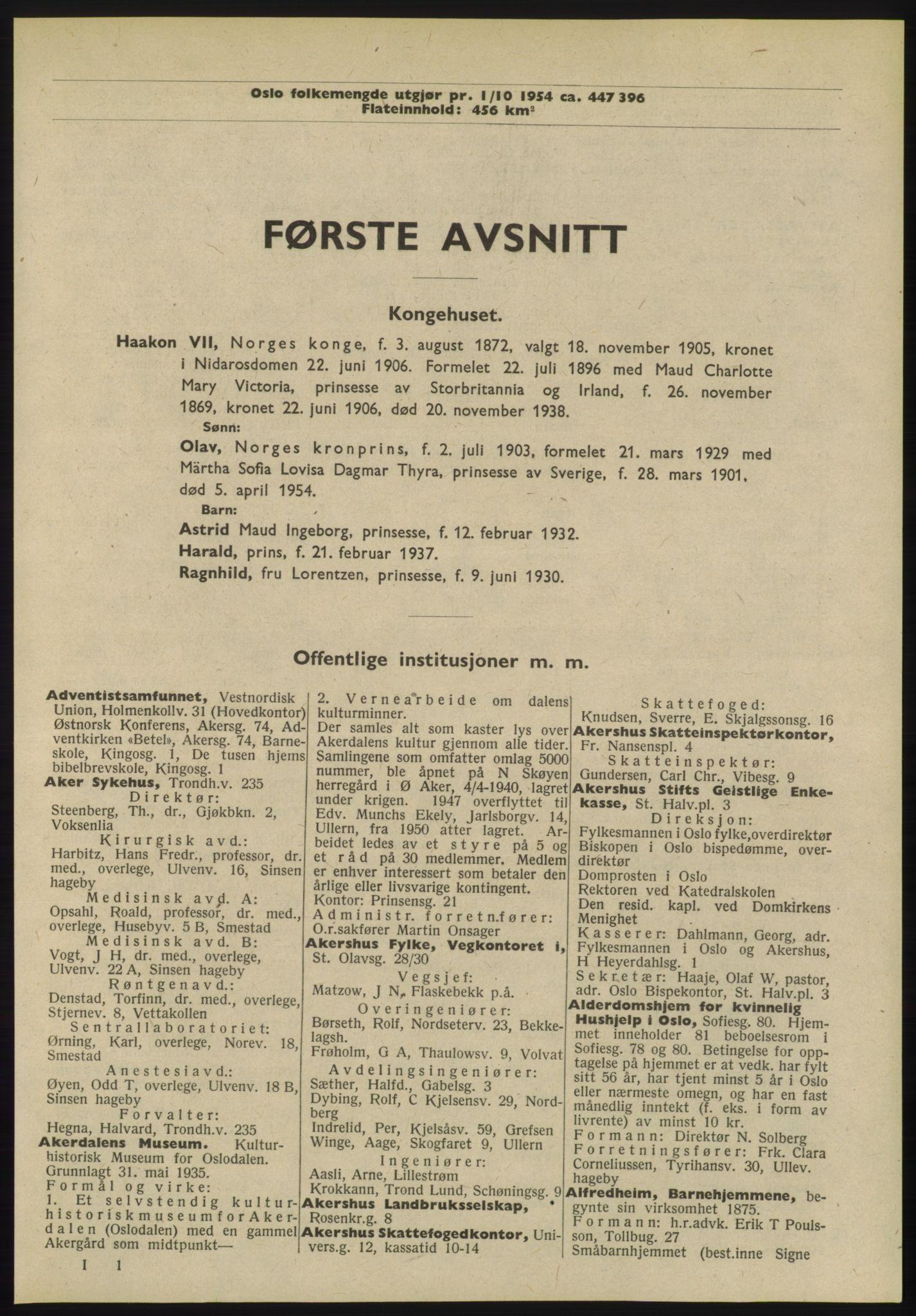 RA, Oslo adressebok (publikasjon)*, 1955, s. 1