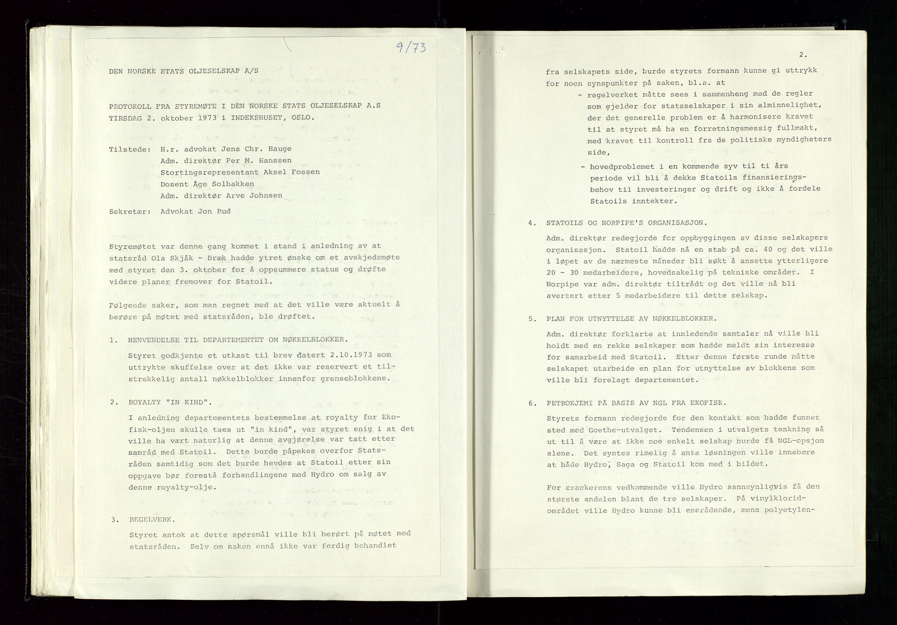 SAST, Pa 1339 - Statoil ASA, A/Ab/Aba/L0001: Styremøteprotokoller, 05.10.1972 til 14.12.1978, 1972-1978, s. 33