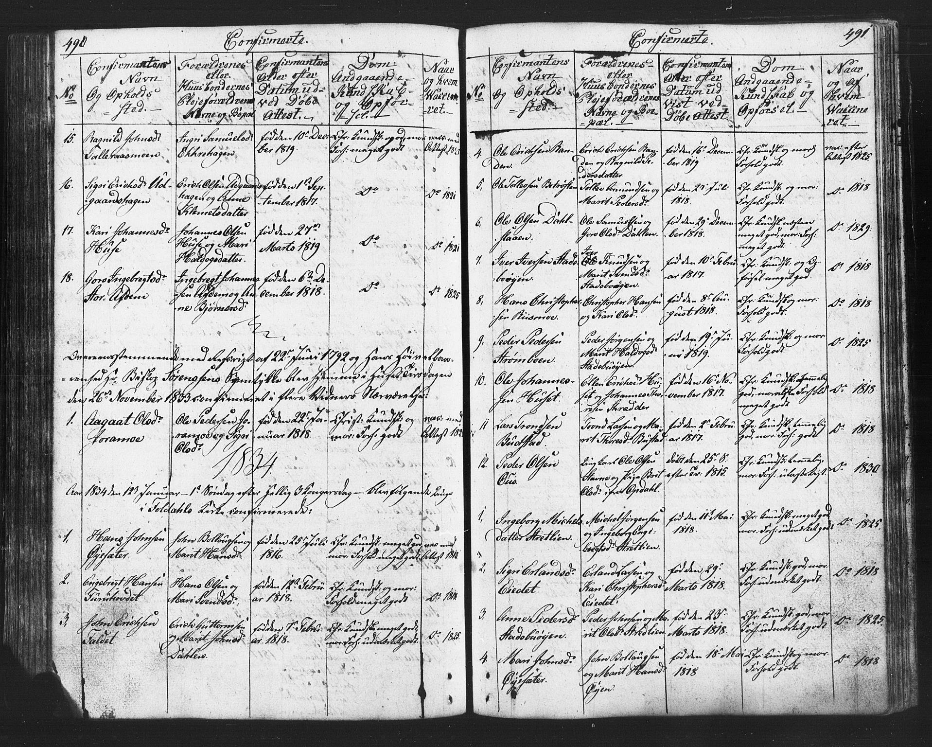 SAH, Lesja prestekontor, Klokkerbok nr. 2, 1832-1850, s. 490-491