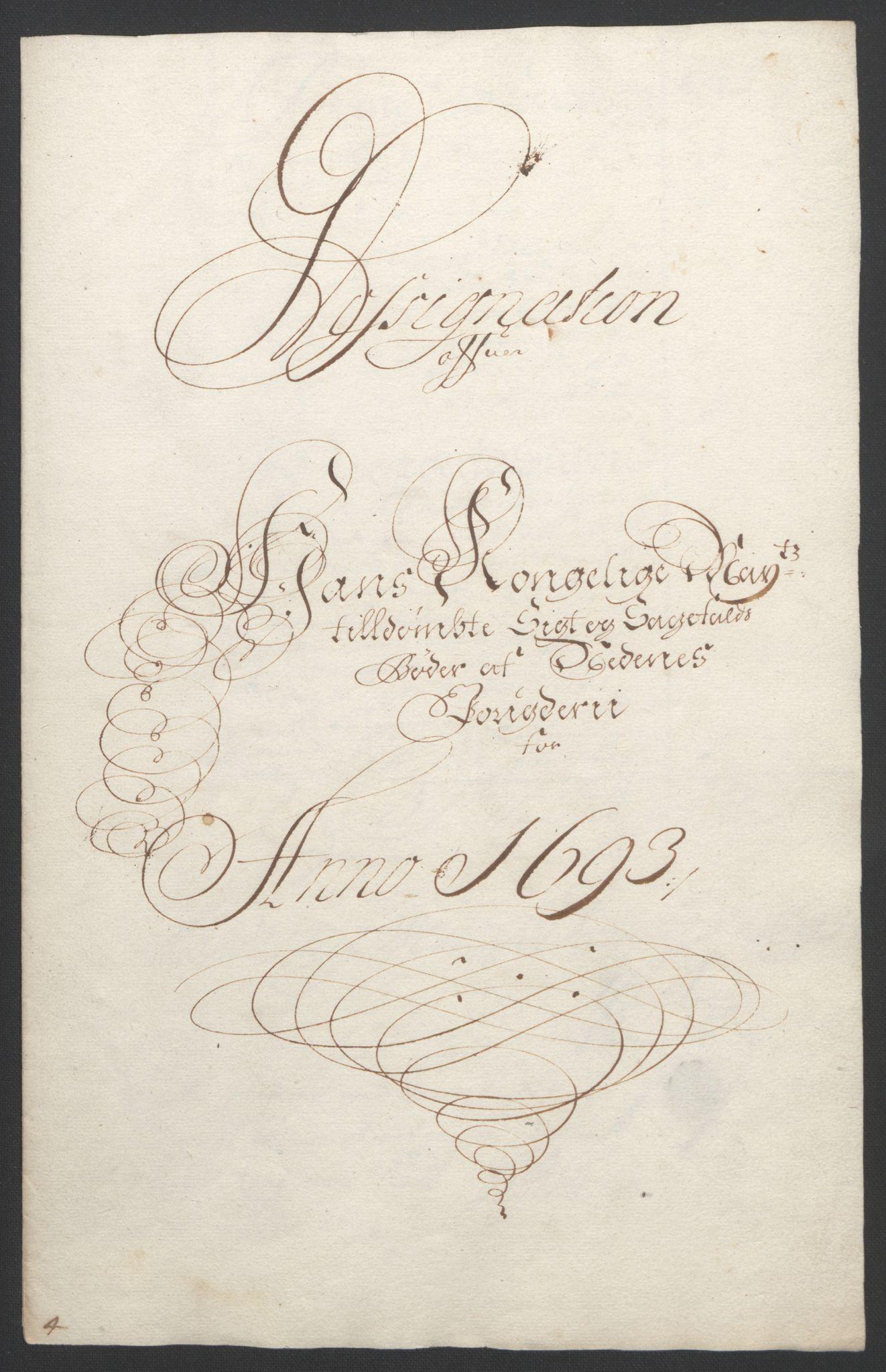 RA, Rentekammeret inntil 1814, Reviderte regnskaper, Fogderegnskap, R39/L2312: Fogderegnskap Nedenes, 1693-1695, s. 22