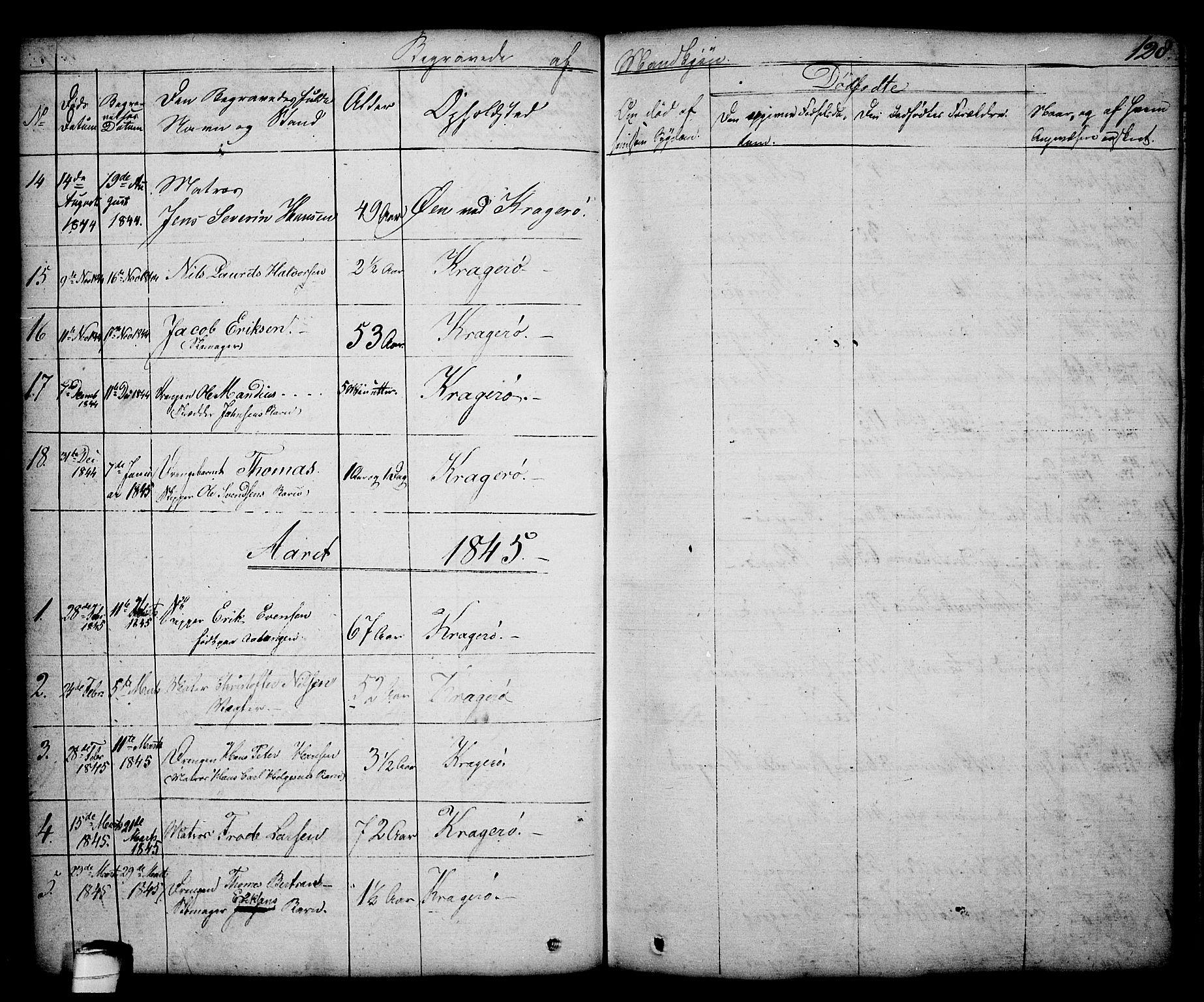 SAKO, Kragerø kirkebøker, G/Ga/L0003: Klokkerbok nr. 3, 1832-1852, s. 128