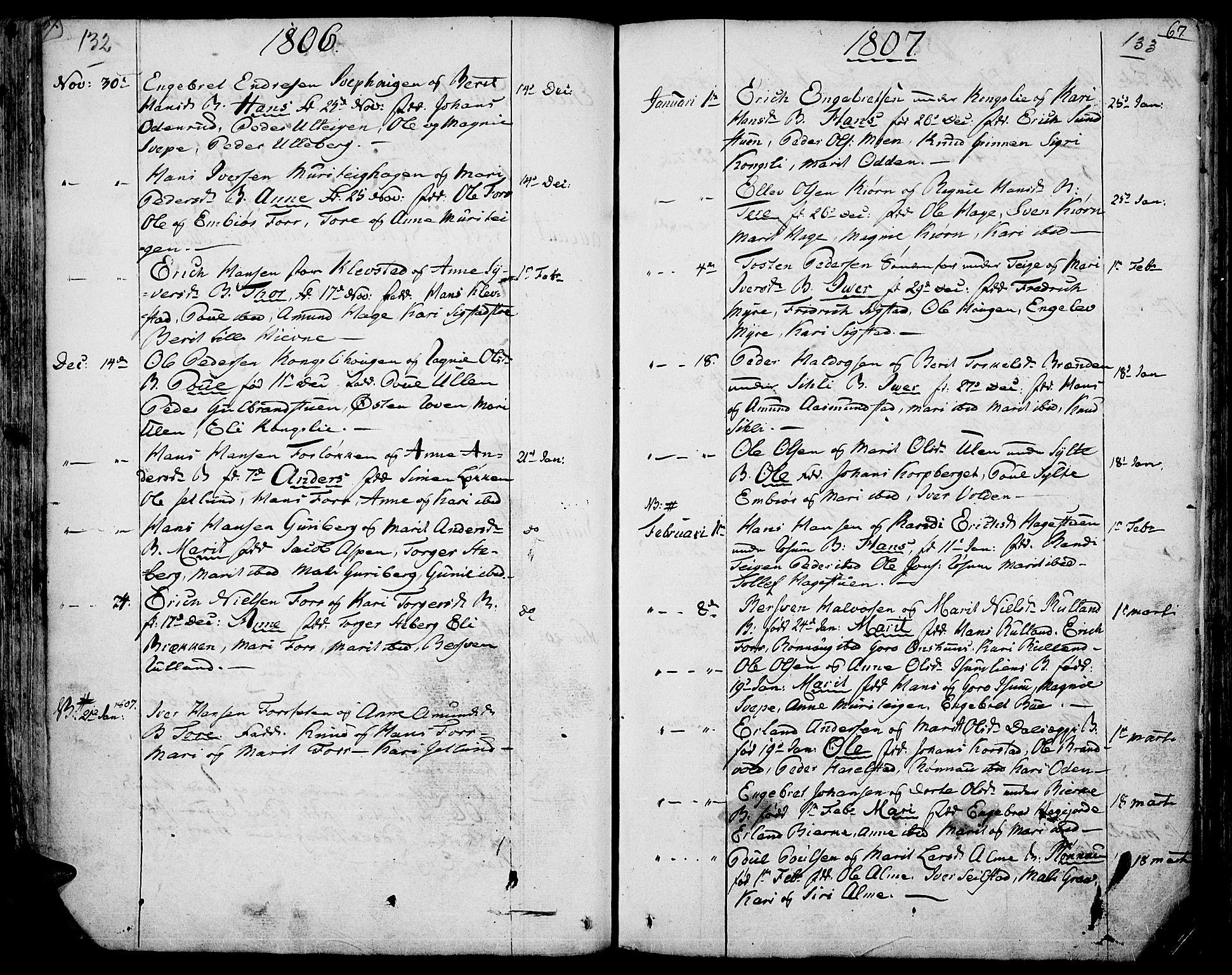 SAH, Fron prestekontor, H/Ha/Haa/L0001: Ministerialbok nr. 1, 1799-1816, s. 132-133