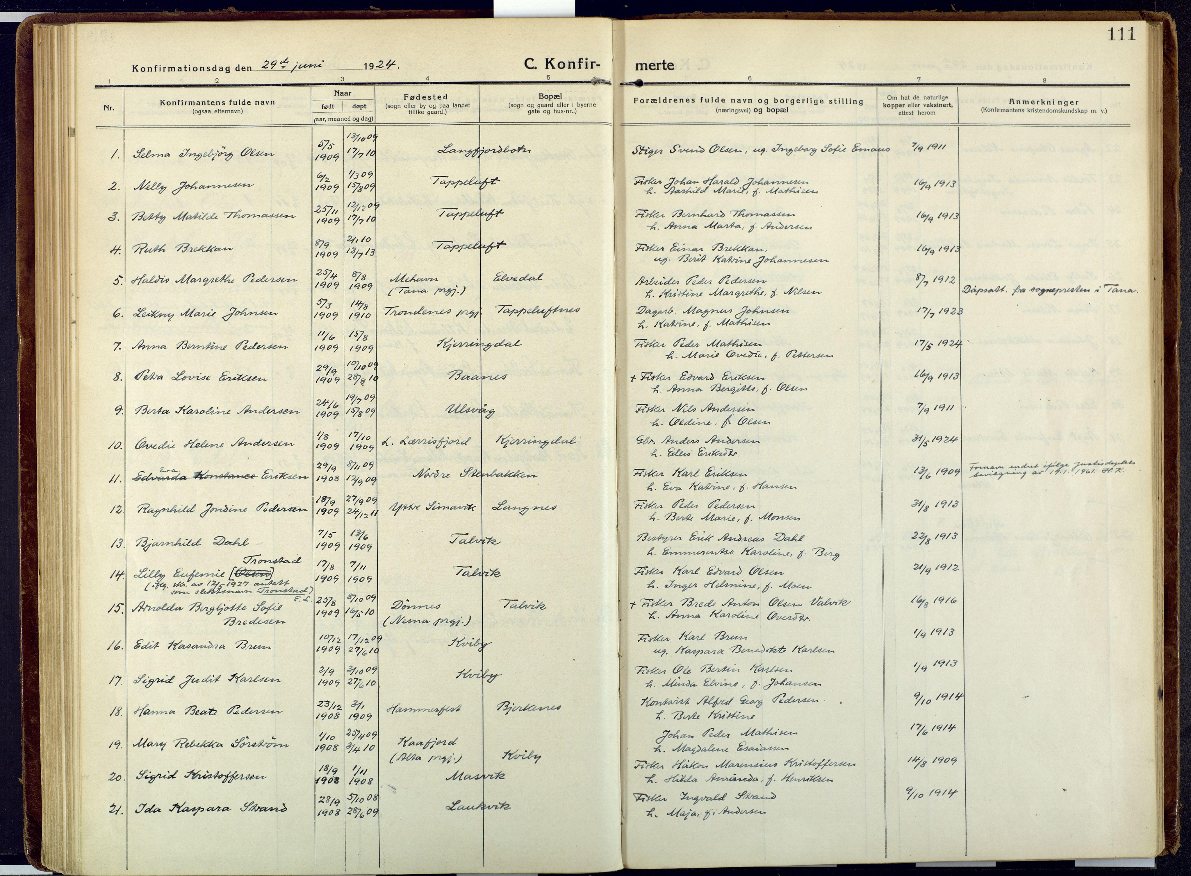 SATØ, Talvik sokneprestkontor, H/Ha/L0018kirke: Ministerialbok nr. 18, 1915-1924, s. 111