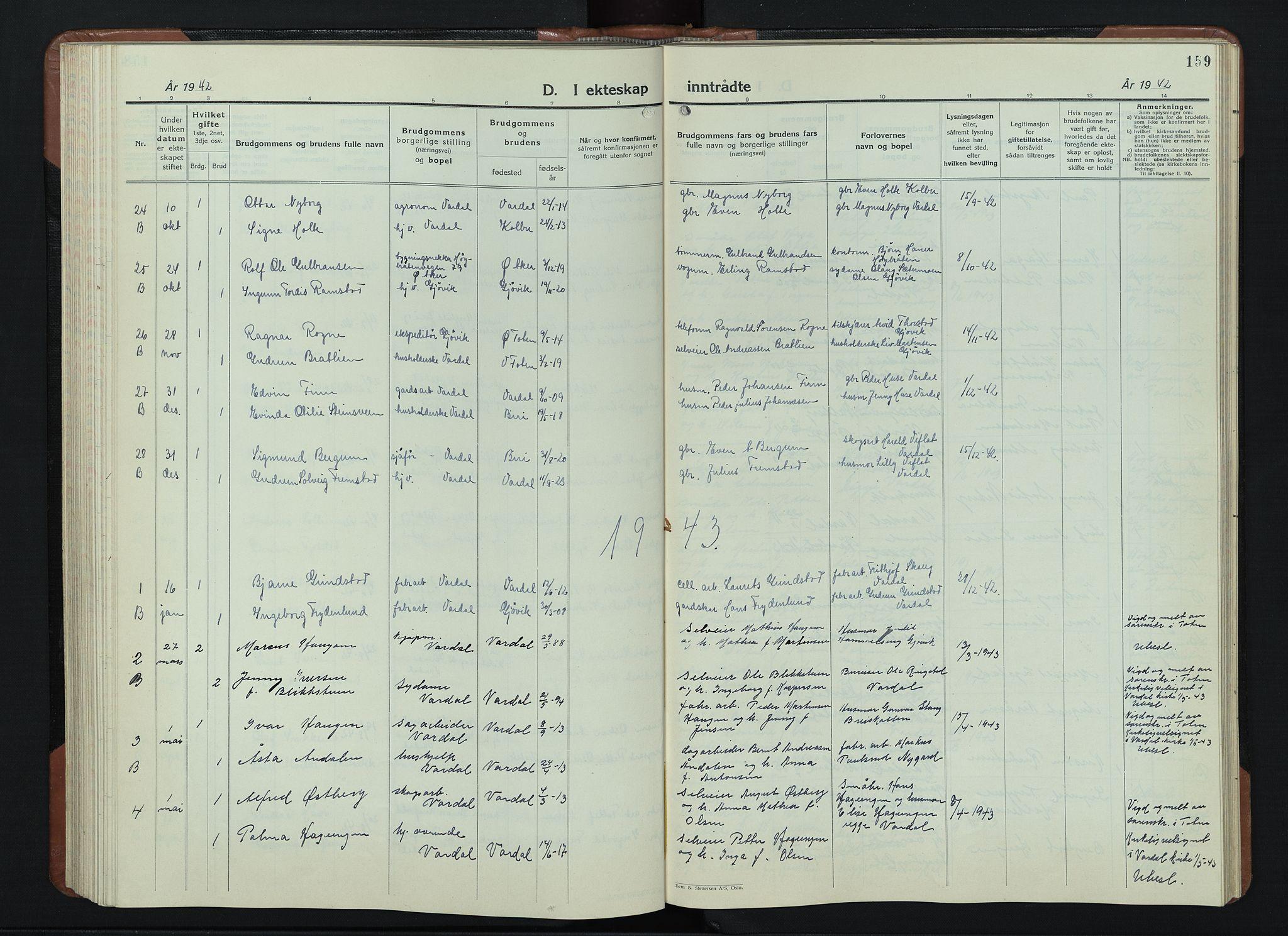 SAH, Vardal prestekontor, H/Ha/Hab/L0018: Klokkerbok nr. 18, 1931-1951, s. 159