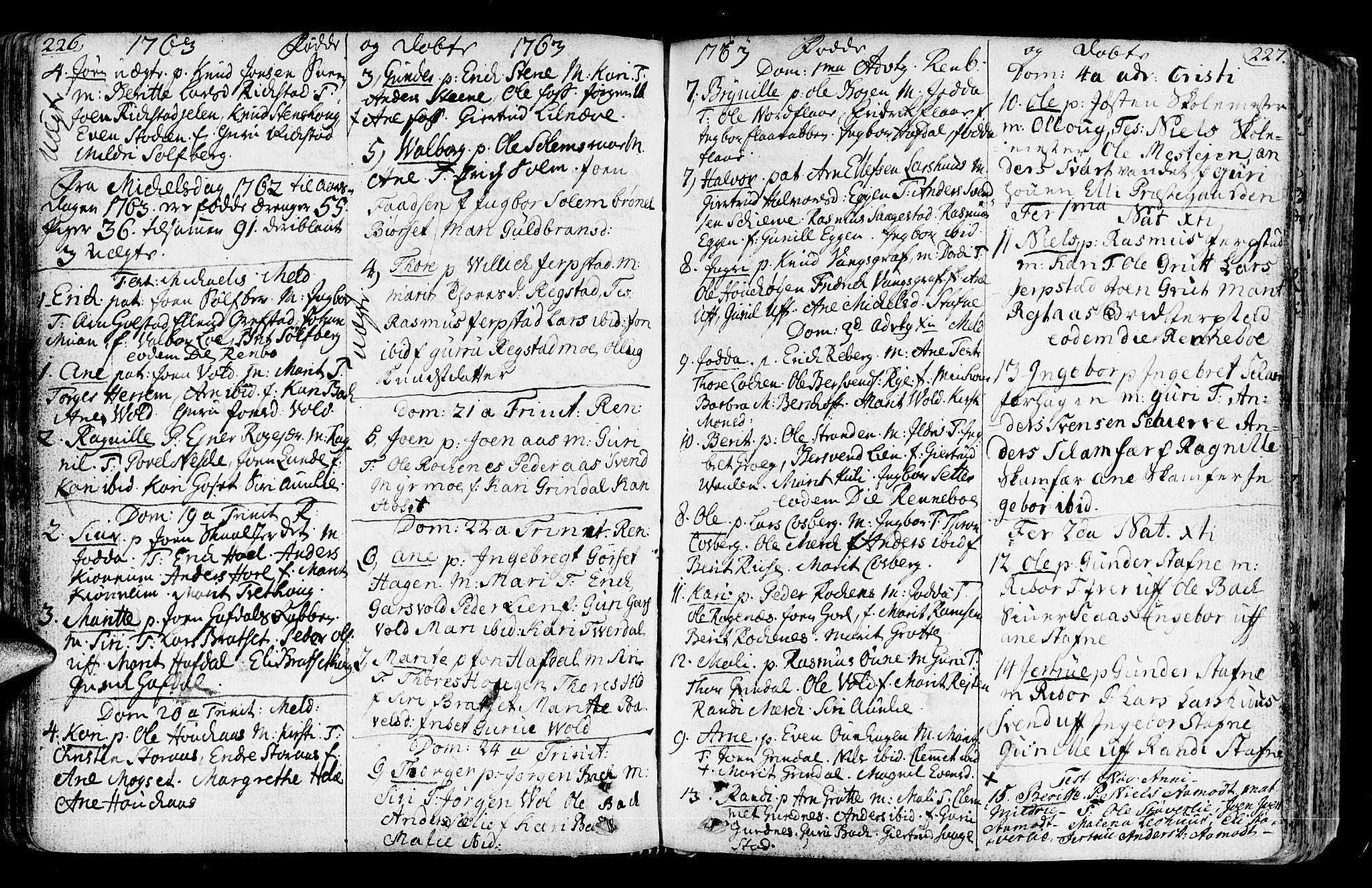 SAT, Ministerialprotokoller, klokkerbøker og fødselsregistre - Sør-Trøndelag, 672/L0851: Ministerialbok nr. 672A04, 1751-1775, s. 226-227