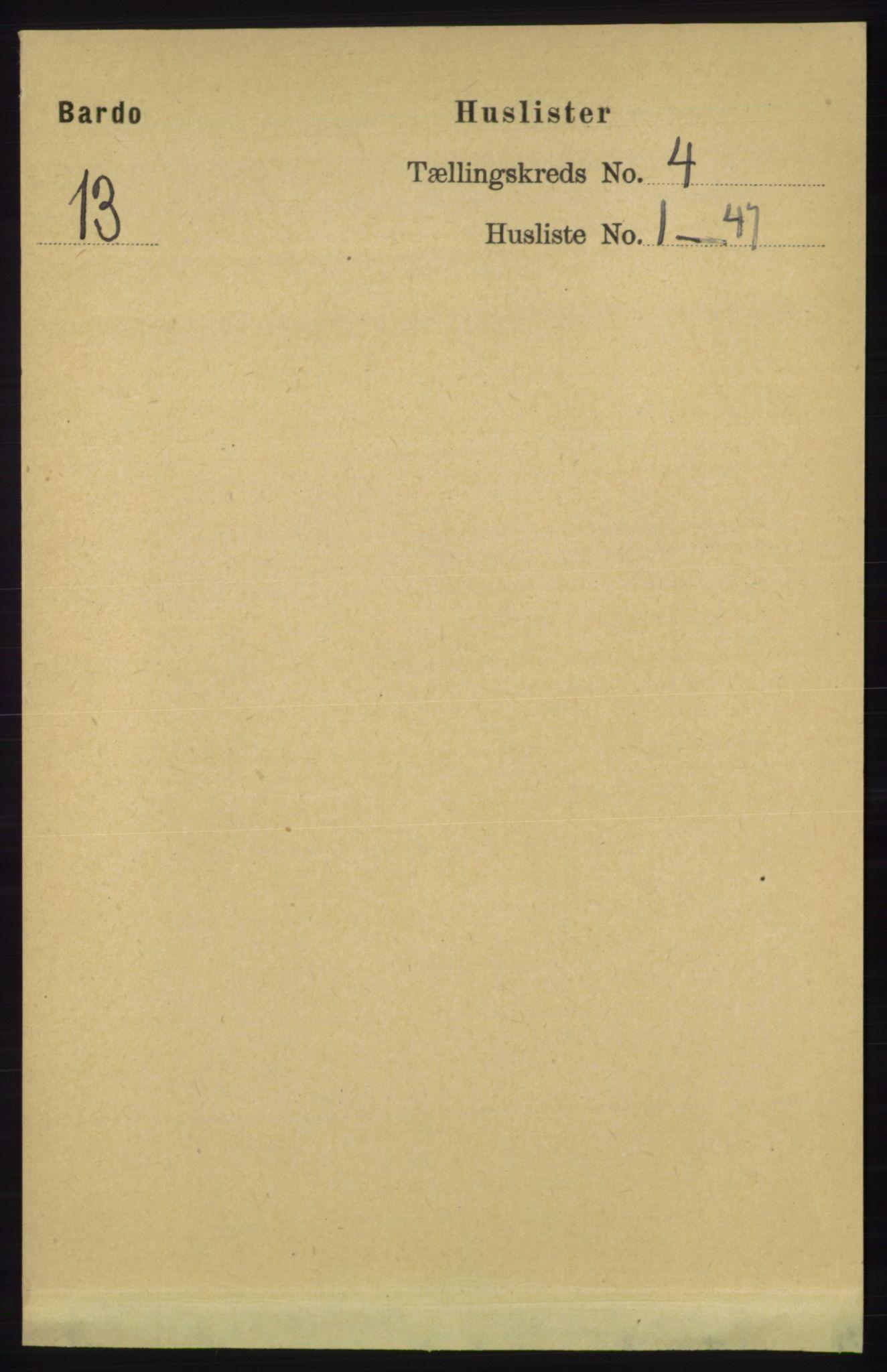 RA, Folketelling 1891 for 1922 Bardu herred, 1891, s. 1275