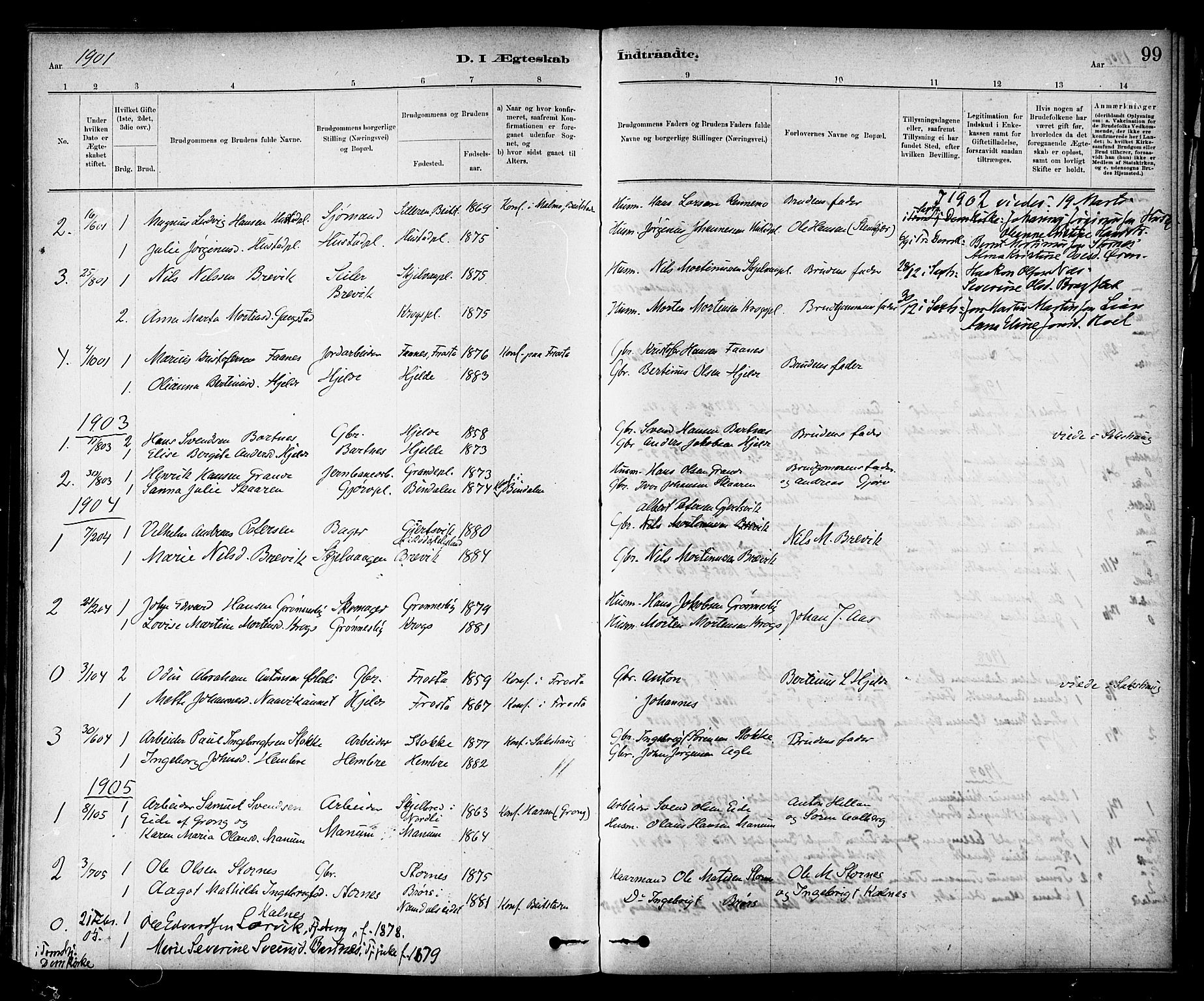 SAT, Ministerialprotokoller, klokkerbøker og fødselsregistre - Nord-Trøndelag, 732/L0318: Klokkerbok nr. 732C02, 1881-1911, s. 99