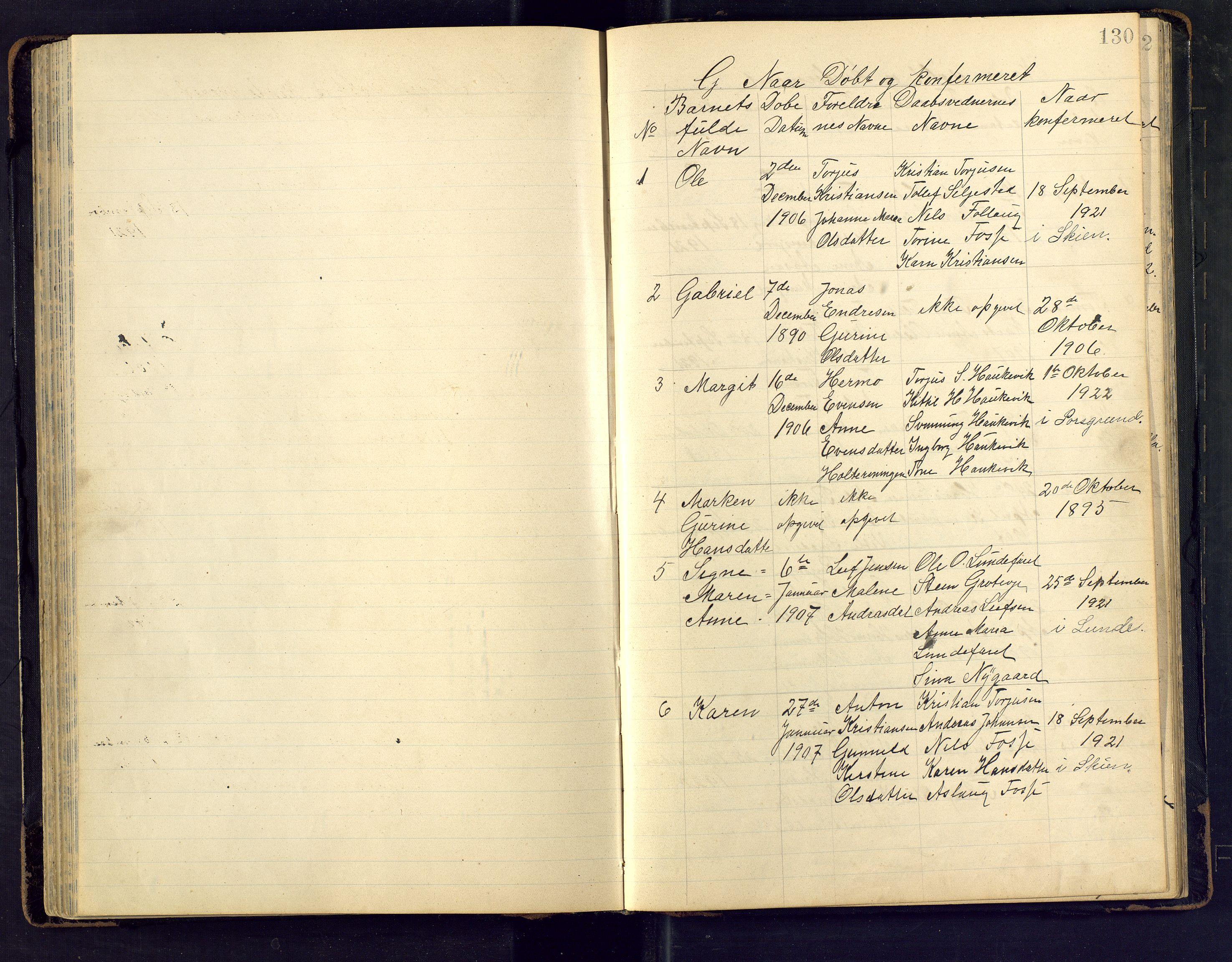 SAKO, Den evangeliske lutherske frimenighet (SAKO), Dissenterprotokoll nr. Fa/L0002, 1906-1922, s. 130