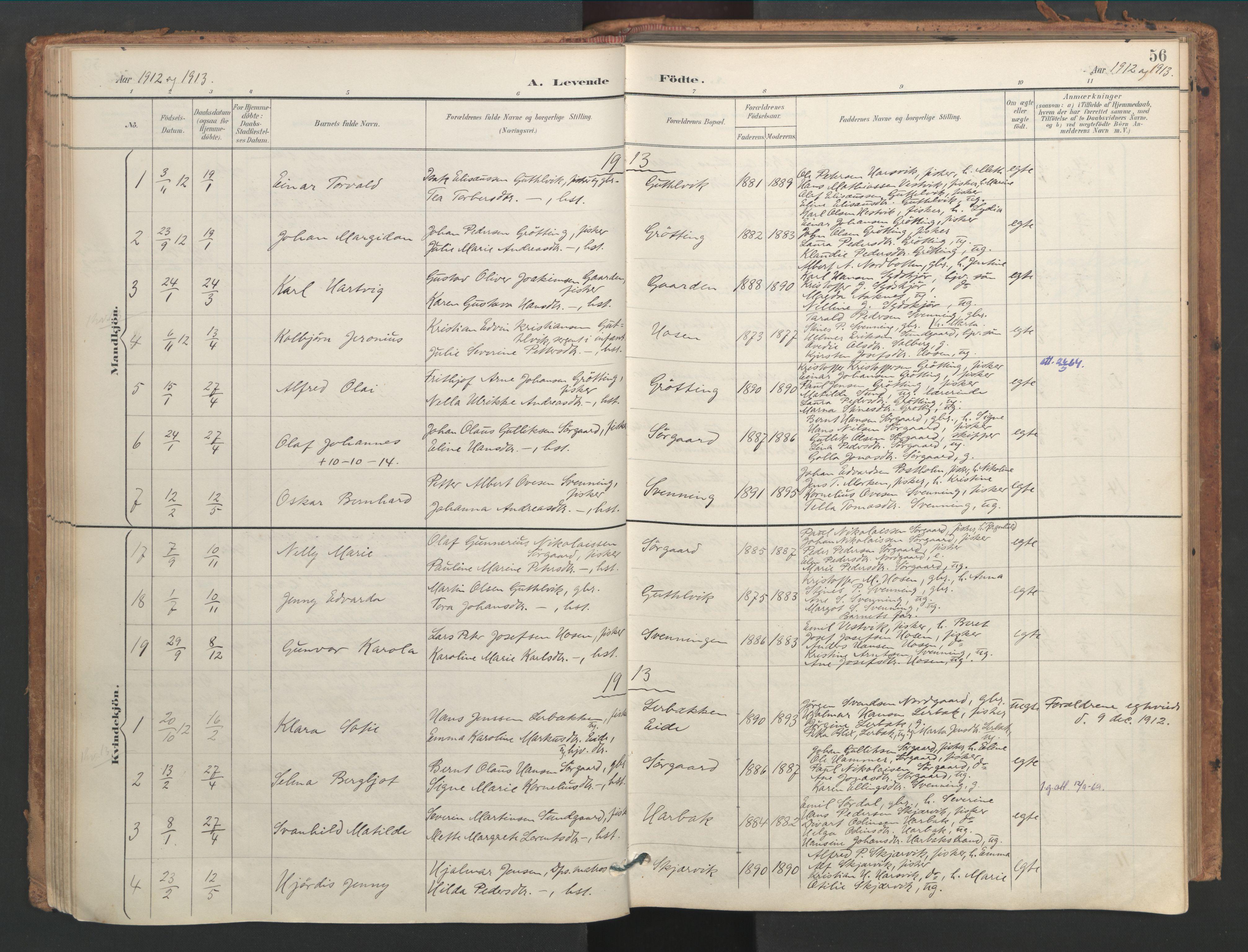 SAT, Ministerialprotokoller, klokkerbøker og fødselsregistre - Sør-Trøndelag, 656/L0693: Ministerialbok nr. 656A02, 1894-1913, s. 56