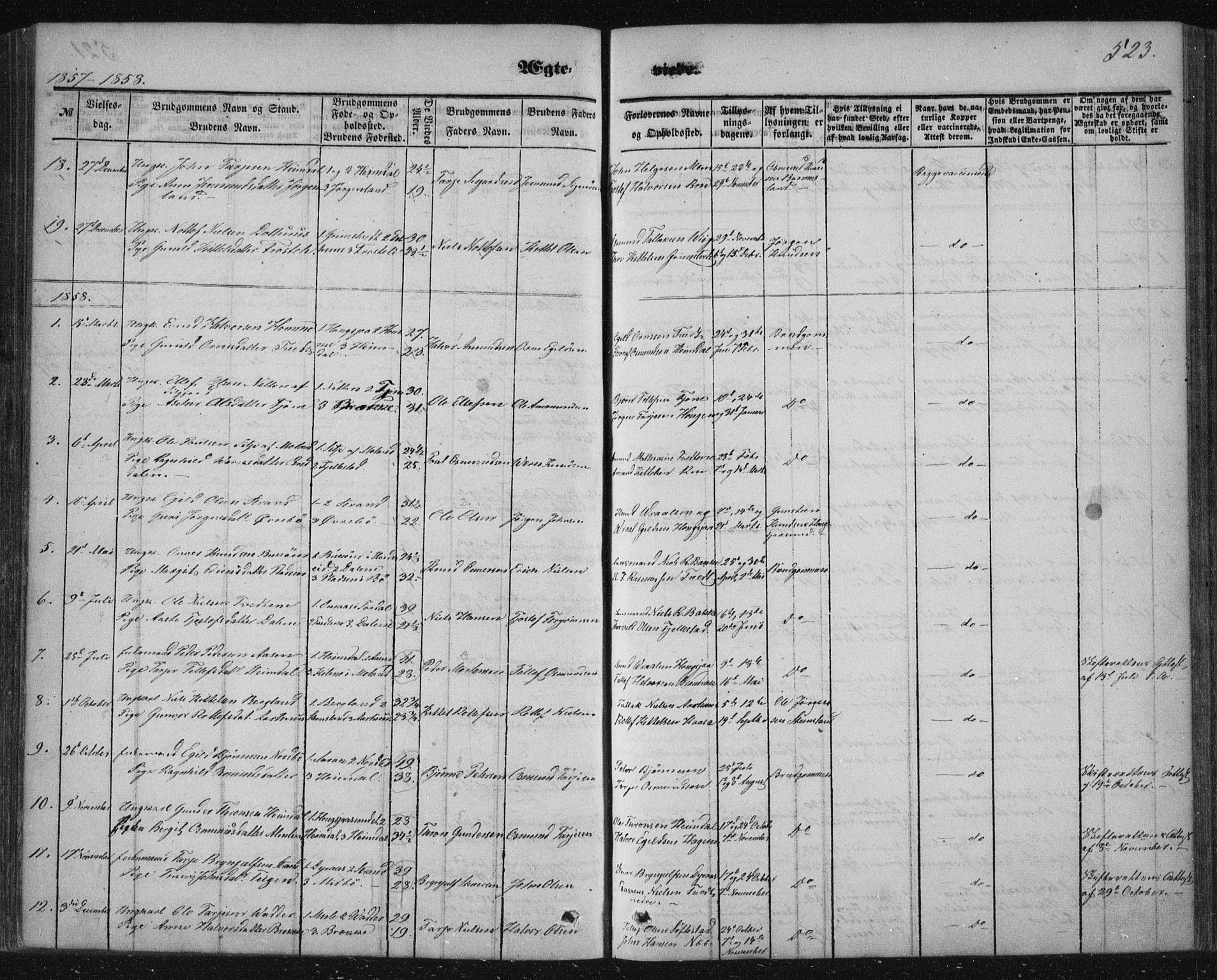 SAKO, Nissedal kirkebøker, F/Fa/L0003: Ministerialbok nr. I 3, 1846-1870, s. 522-523