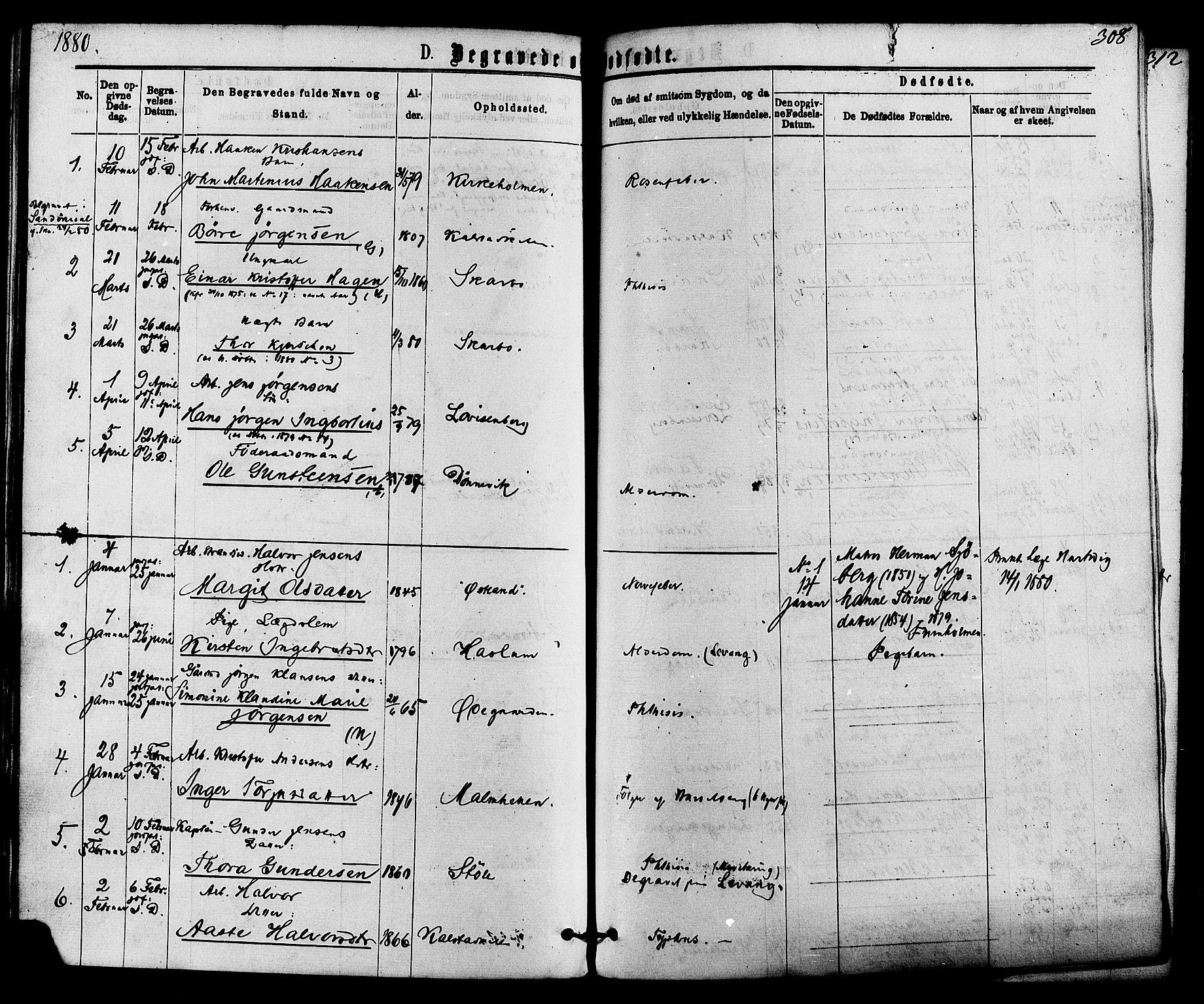 SAKO, Skåtøy kirkebøker, F/Fa/L0001: Ministerialbok nr. I 1, 1874-1883, s. 308