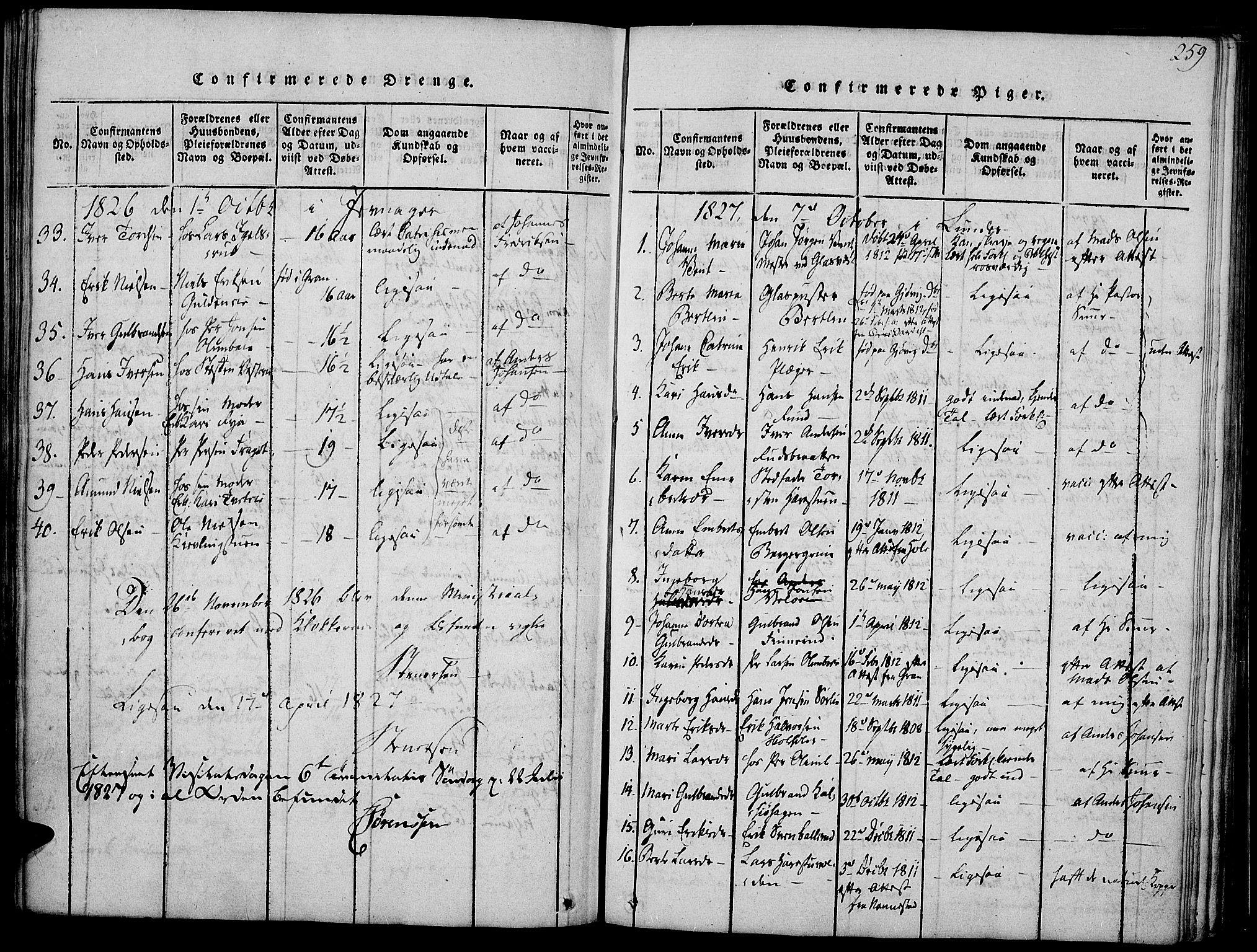SAH, Jevnaker prestekontor, Ministerialbok nr. 5, 1815-1837, s. 259