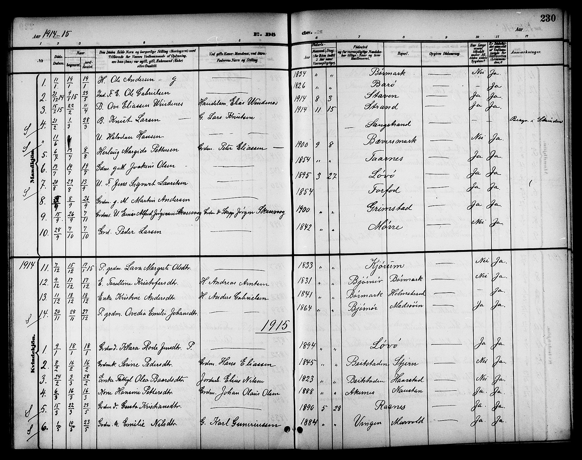 SAT, Ministerialprotokoller, klokkerbøker og fødselsregistre - Sør-Trøndelag, 655/L0688: Klokkerbok nr. 655C04, 1899-1922, s. 230