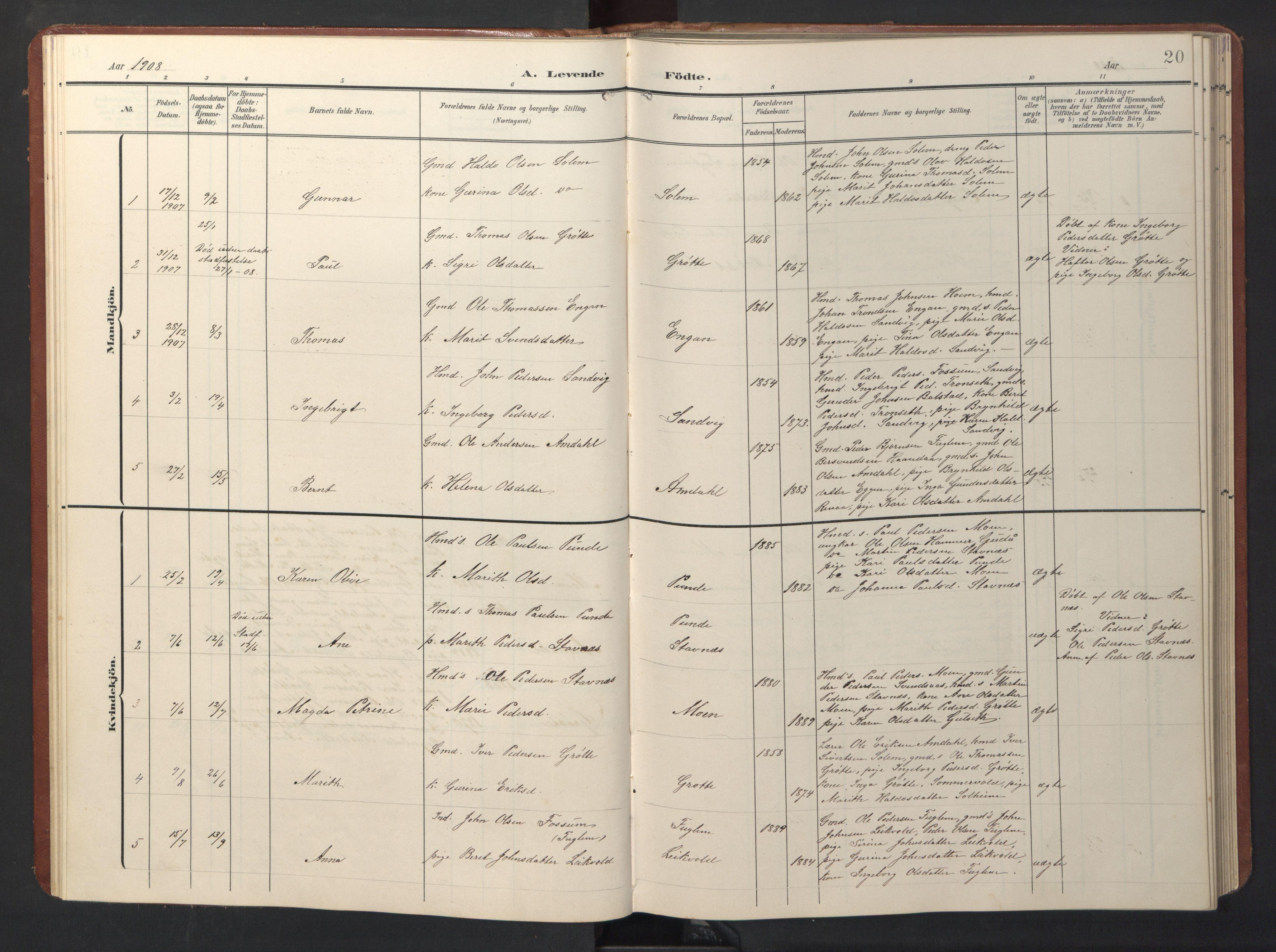 SAT, Ministerialprotokoller, klokkerbøker og fødselsregistre - Sør-Trøndelag, 696/L1161: Klokkerbok nr. 696C01, 1902-1950, s. 20