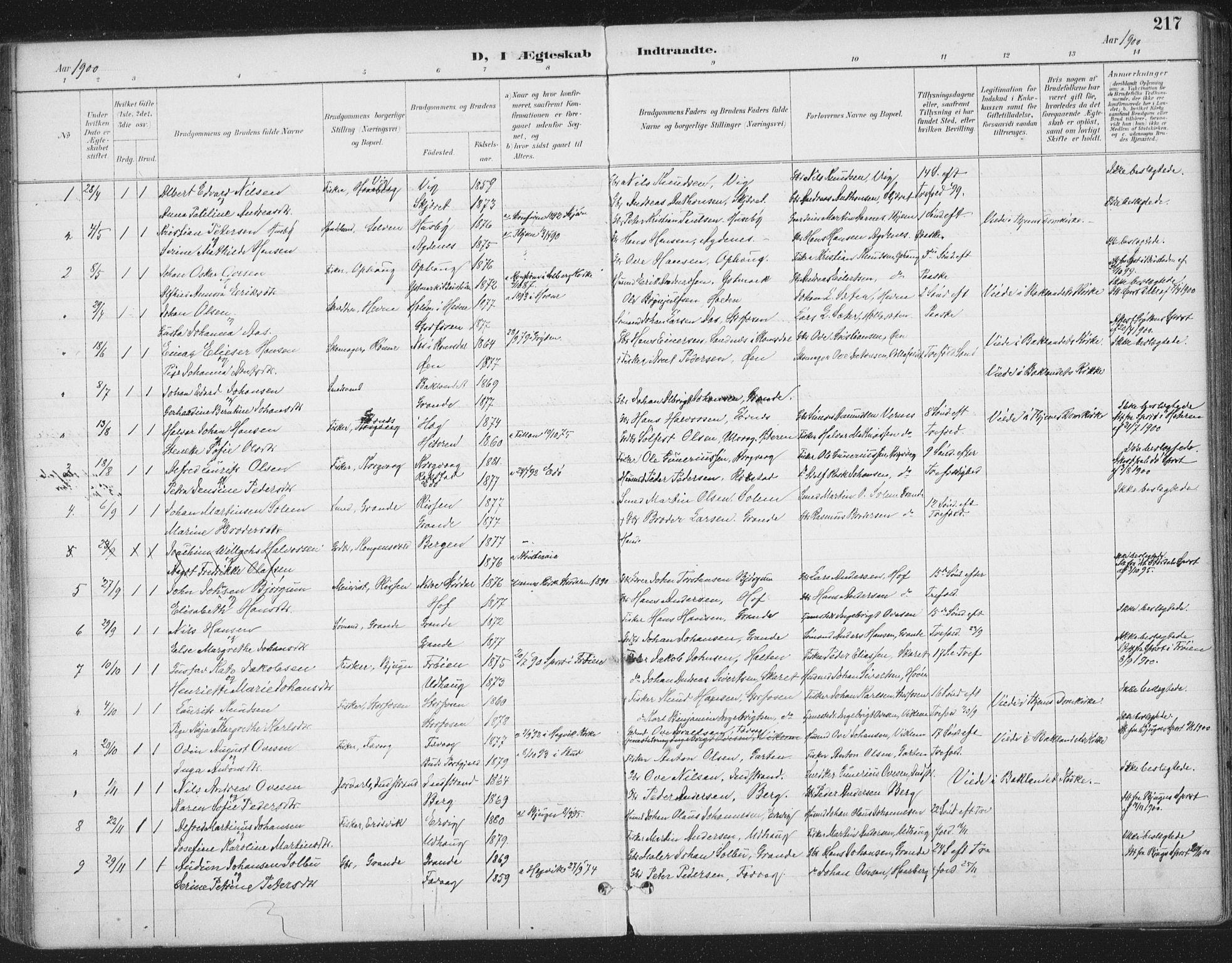 SAT, Ministerialprotokoller, klokkerbøker og fødselsregistre - Sør-Trøndelag, 659/L0743: Ministerialbok nr. 659A13, 1893-1910, s. 217