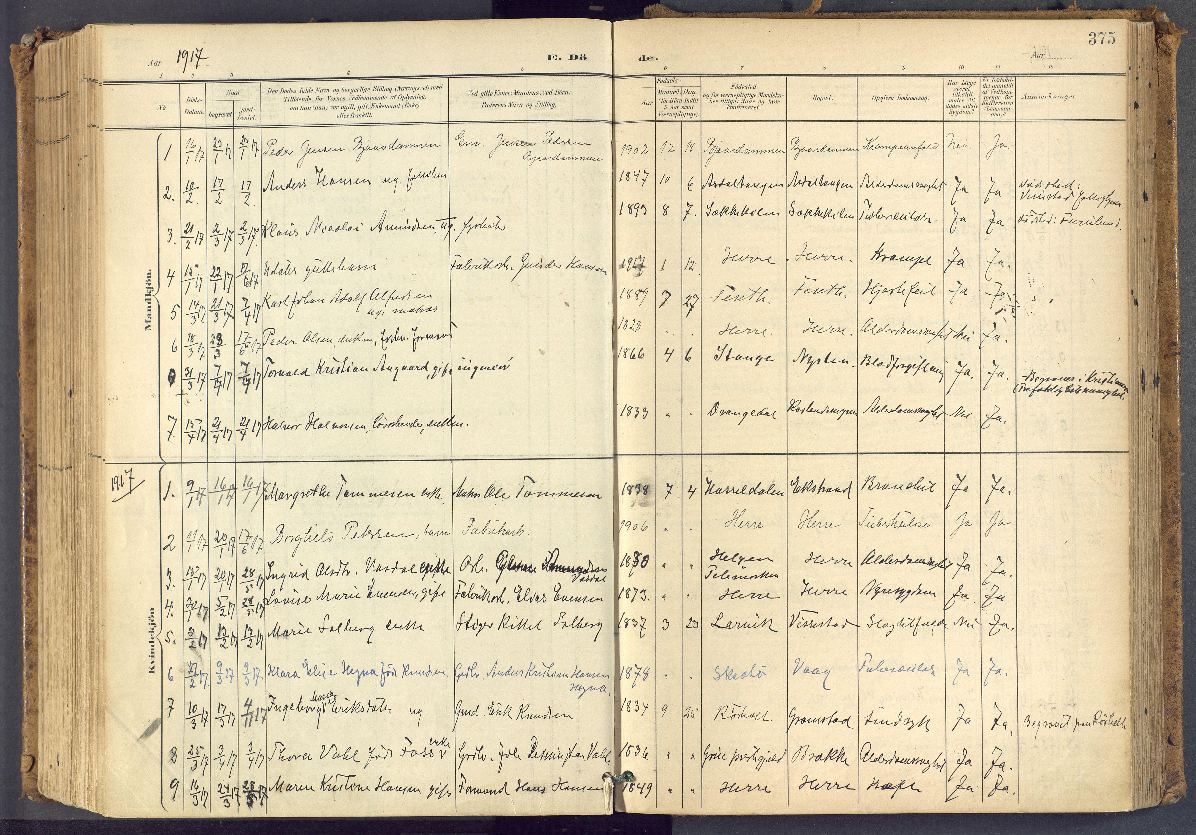 SAKO, Bamble kirkebøker, F/Fa/L0009: Ministerialbok nr. I 9, 1901-1917, s. 375
