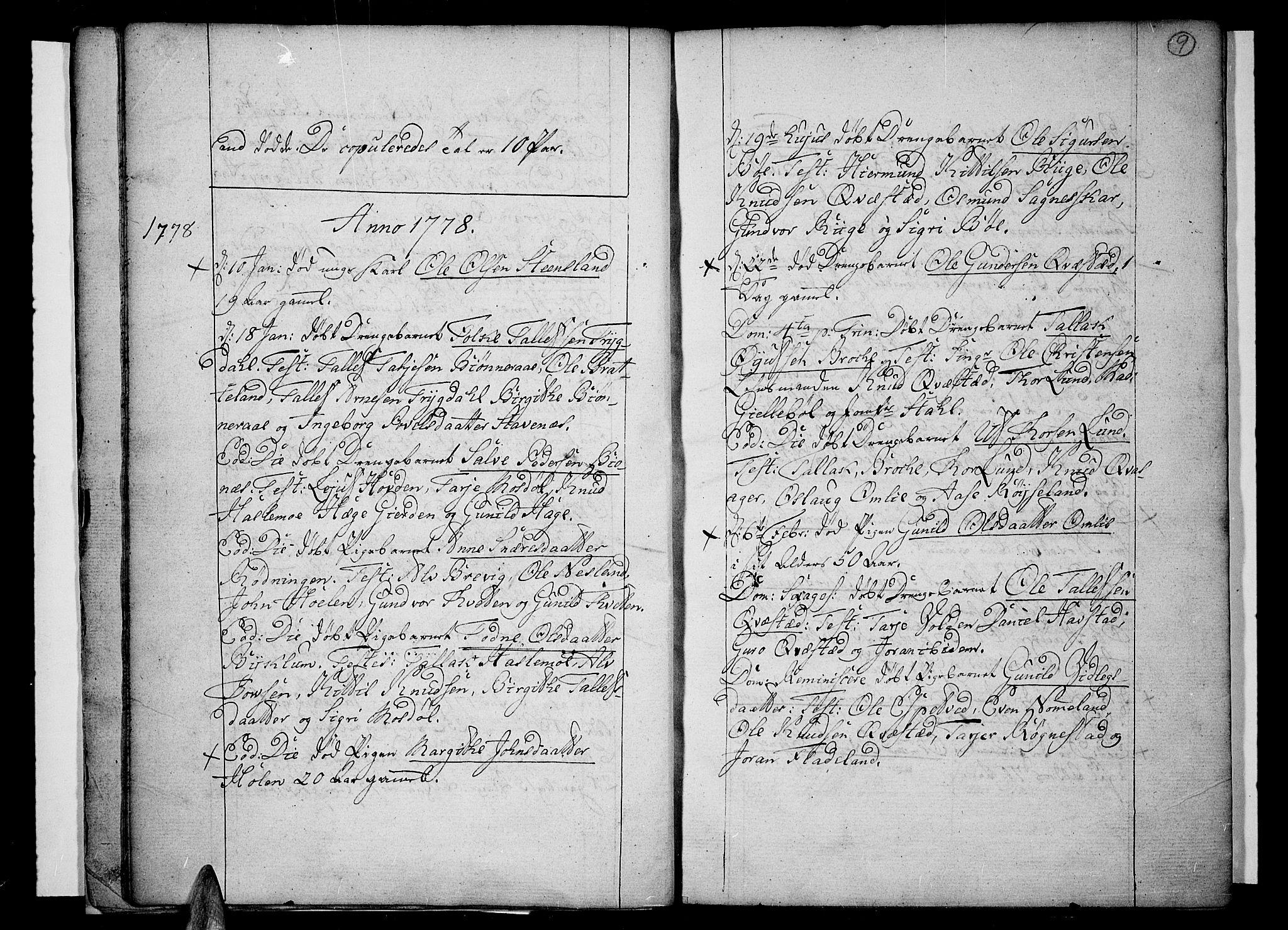 SAK, Valle sokneprestkontor, F/Fa/Fac/L0003: Ministerialbok nr. A 3, 1776-1790, s. 9