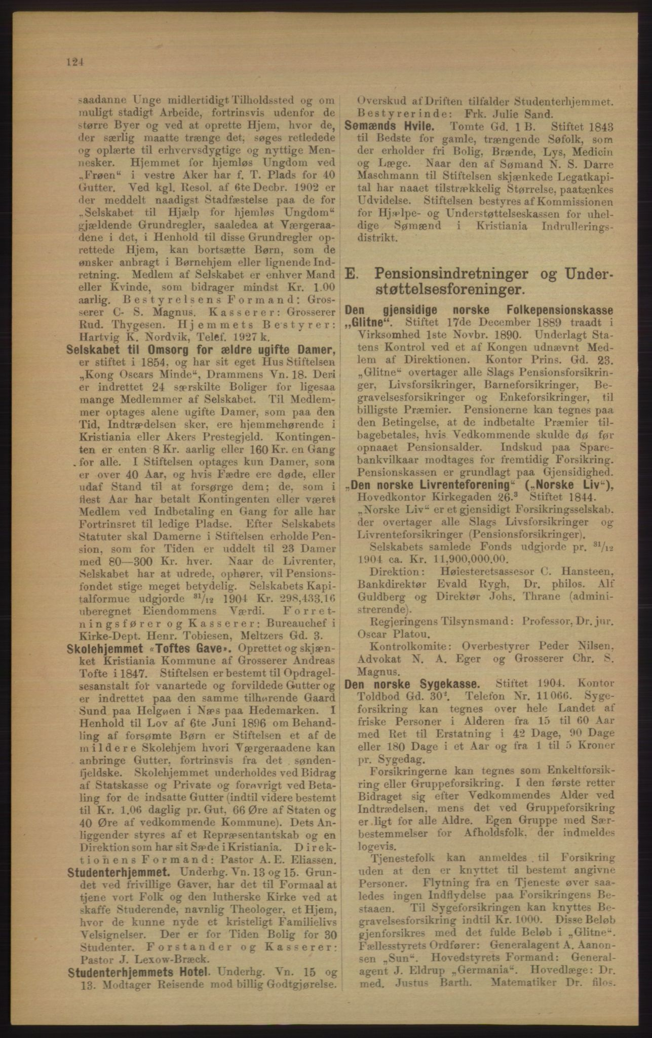RA, Kristiania adressebok (publikasjon)*, 1906, s. 124