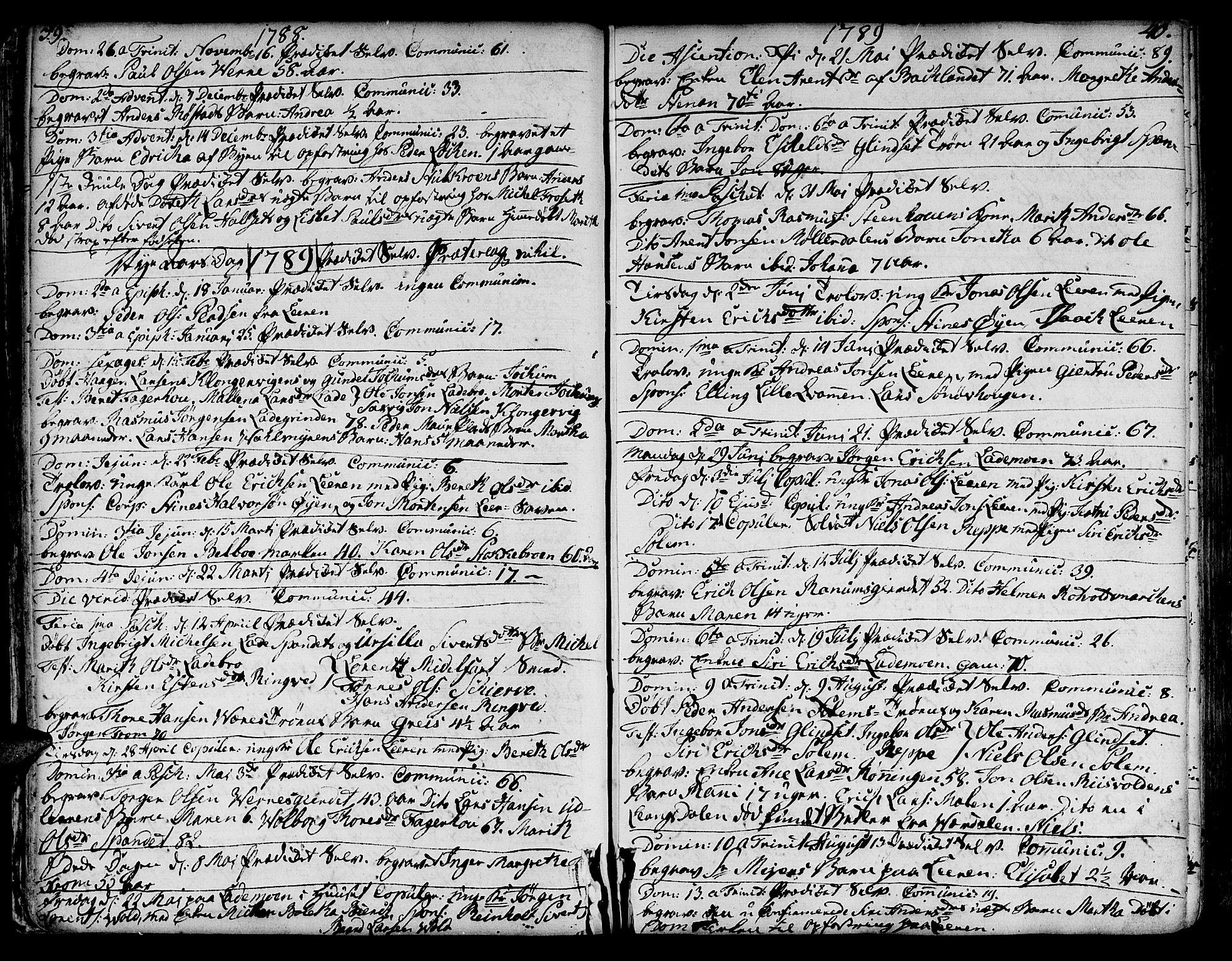 SAT, Ministerialprotokoller, klokkerbøker og fødselsregistre - Sør-Trøndelag, 606/L0280: Ministerialbok nr. 606A02 /1, 1781-1817, s. 39-40