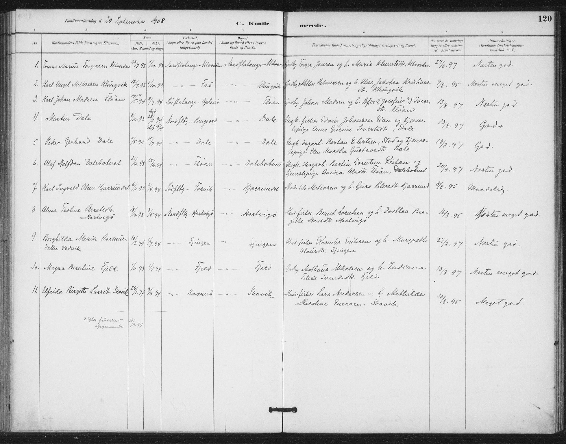 SAT, Ministerialprotokoller, klokkerbøker og fødselsregistre - Nord-Trøndelag, 772/L0603: Ministerialbok nr. 772A01, 1885-1912, s. 120