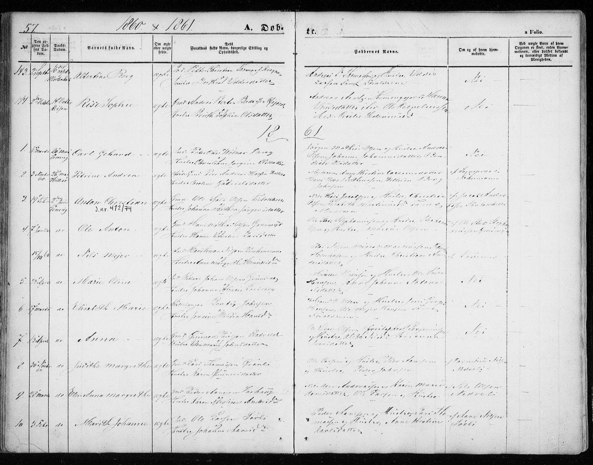 SATØ, Lenvik sokneprestembete, H/Ha: Ministerialbok nr. 7, 1855-1865, s. 57