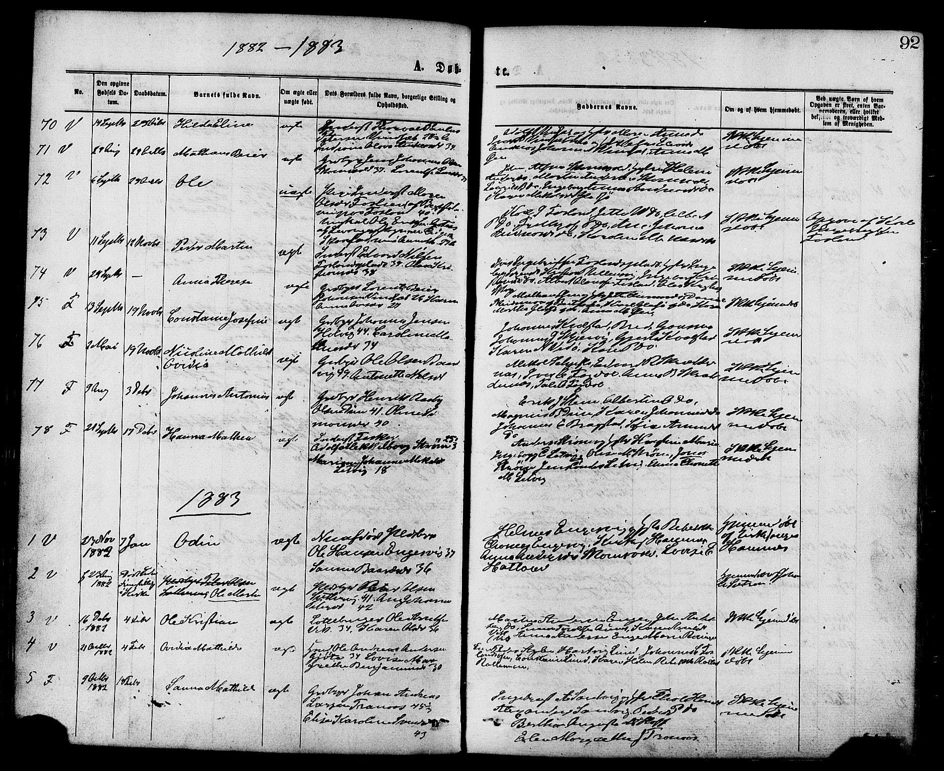 SAT, Ministerialprotokoller, klokkerbøker og fødselsregistre - Nord-Trøndelag, 773/L0616: Ministerialbok nr. 773A07, 1870-1887, s. 92