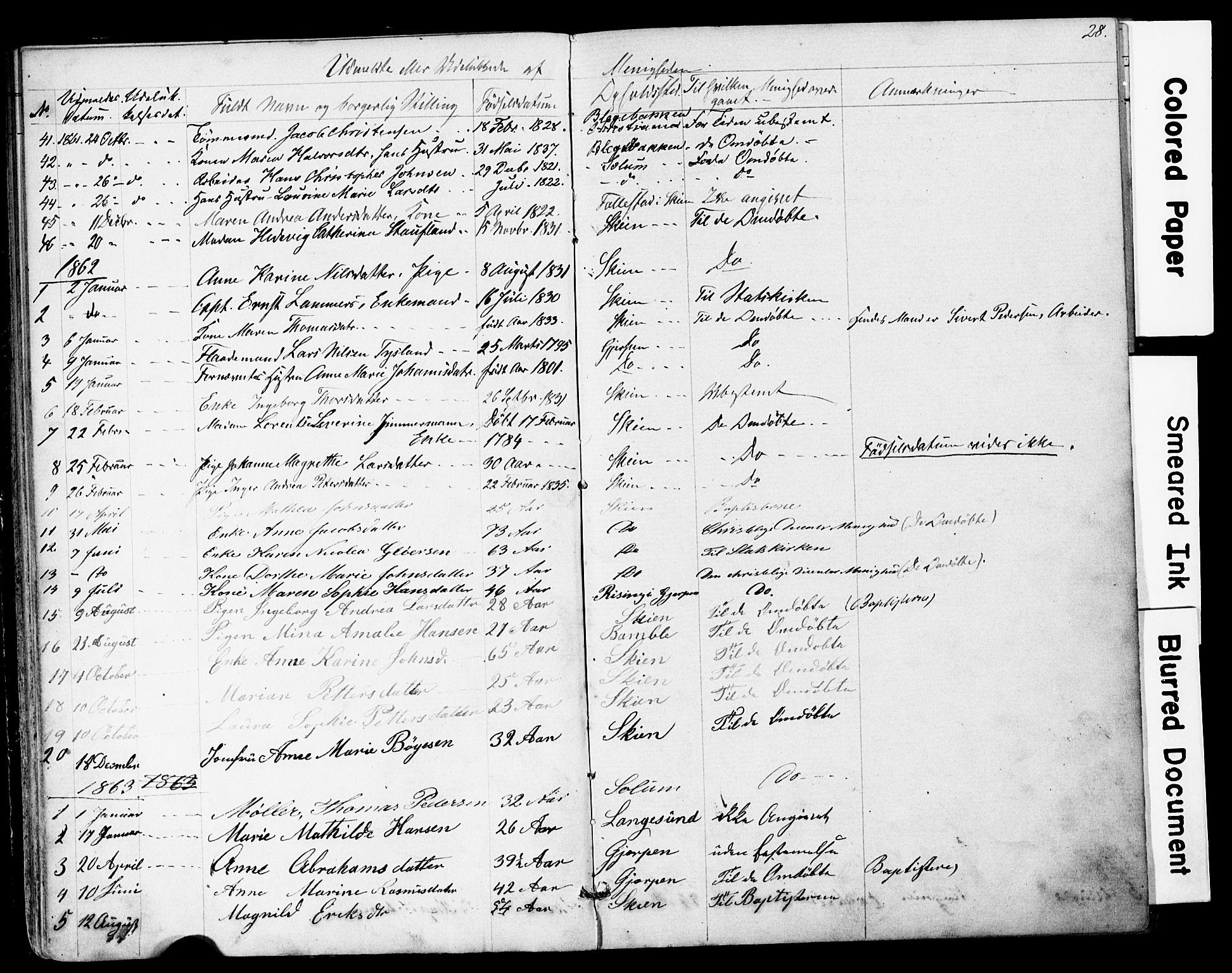 SAKO, Den frie apostolisk-kristelige menighet i Skien, F/Fa/L0001: Dissenterprotokoll nr. 1, 1856-1892, s. 28