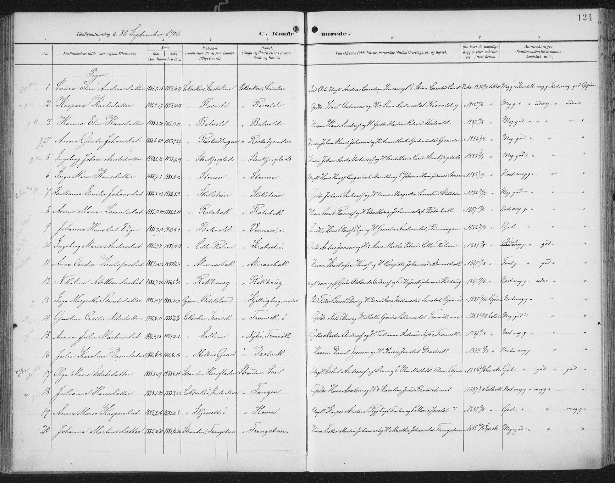 SAT, Ministerialprotokoller, klokkerbøker og fødselsregistre - Nord-Trøndelag, 701/L0011: Ministerialbok nr. 701A11, 1899-1915, s. 124